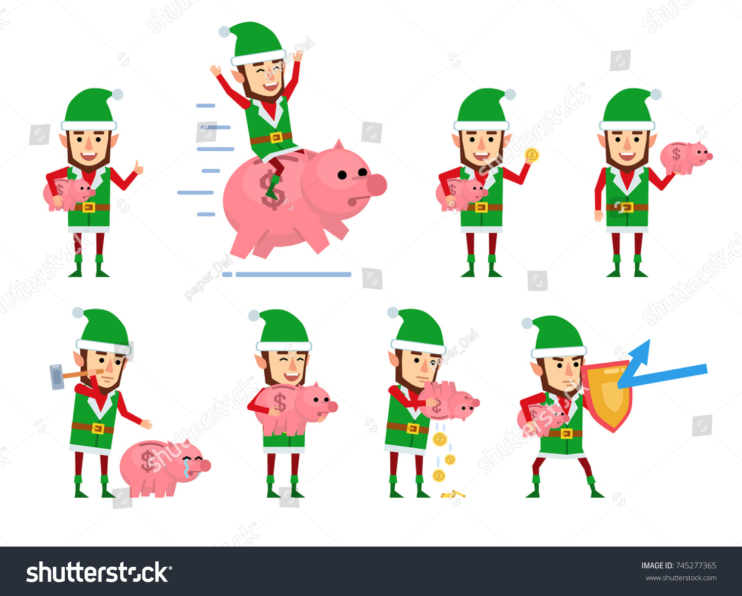 Set Christmas Elf Characters Posing Piggy Stock Vector (Royalty Free ...