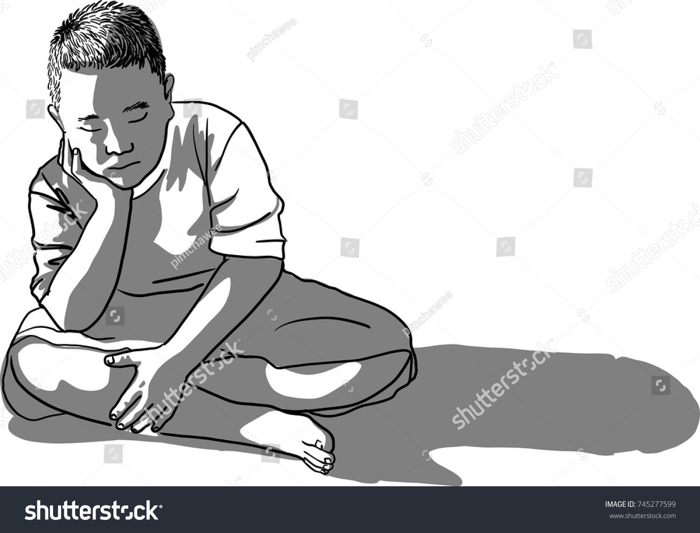 Vector art drawing sad boy sitting royalty free stock image