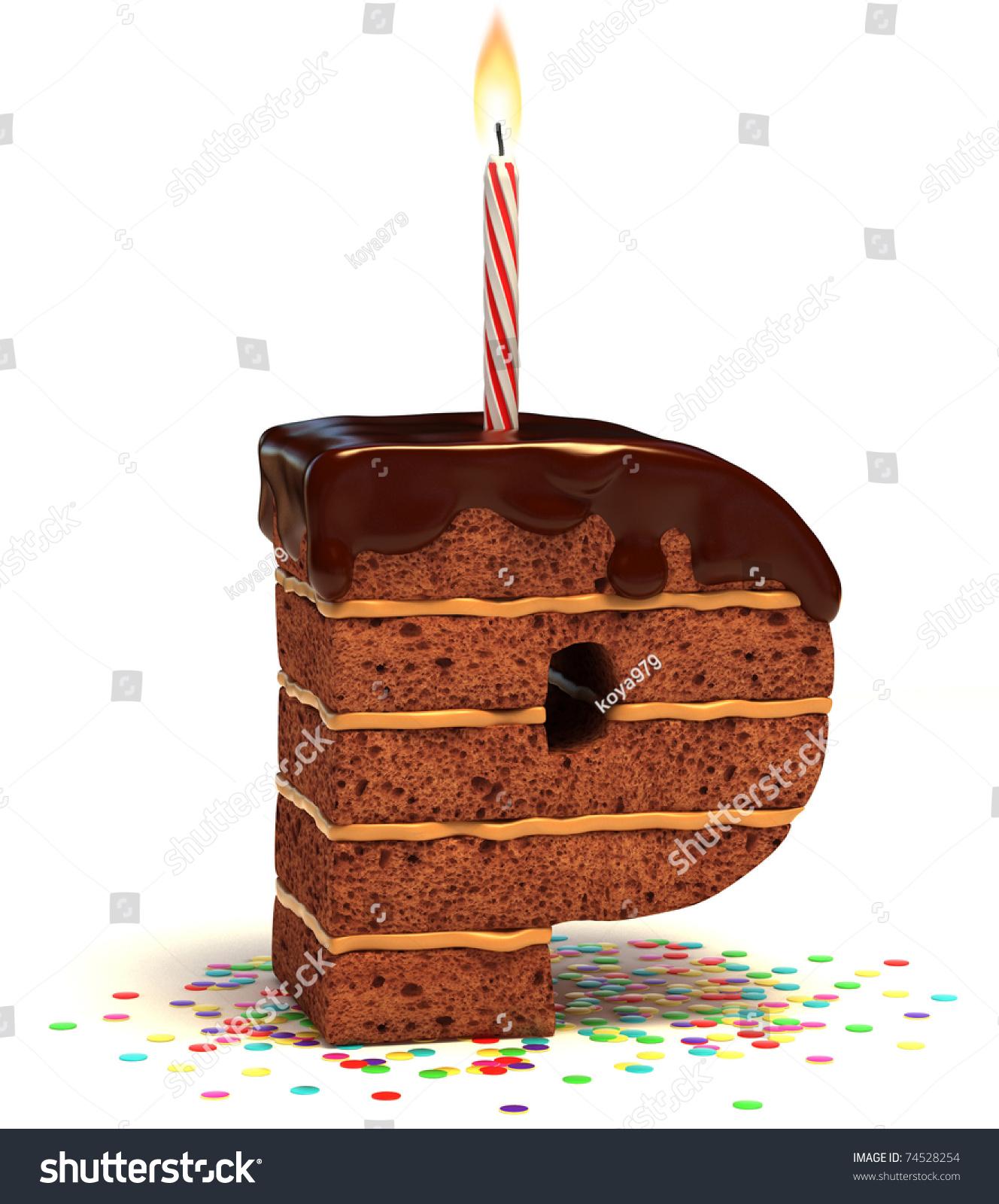 Letter P Shaped Chocolate Birthday Cake Stock Illustration 74528254 - Shutterstock
