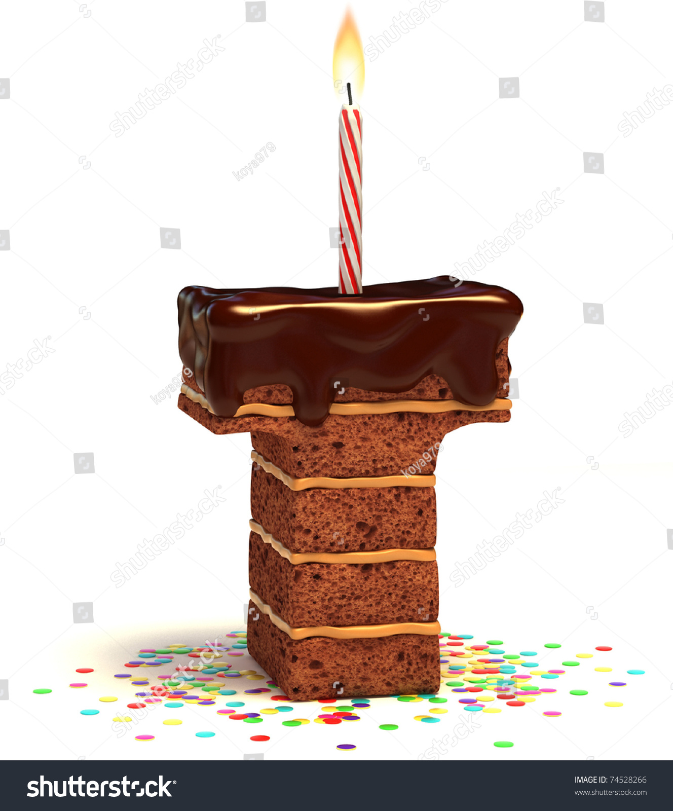Letter T Shaped Chocolate Birthday Cake Stock Illustration