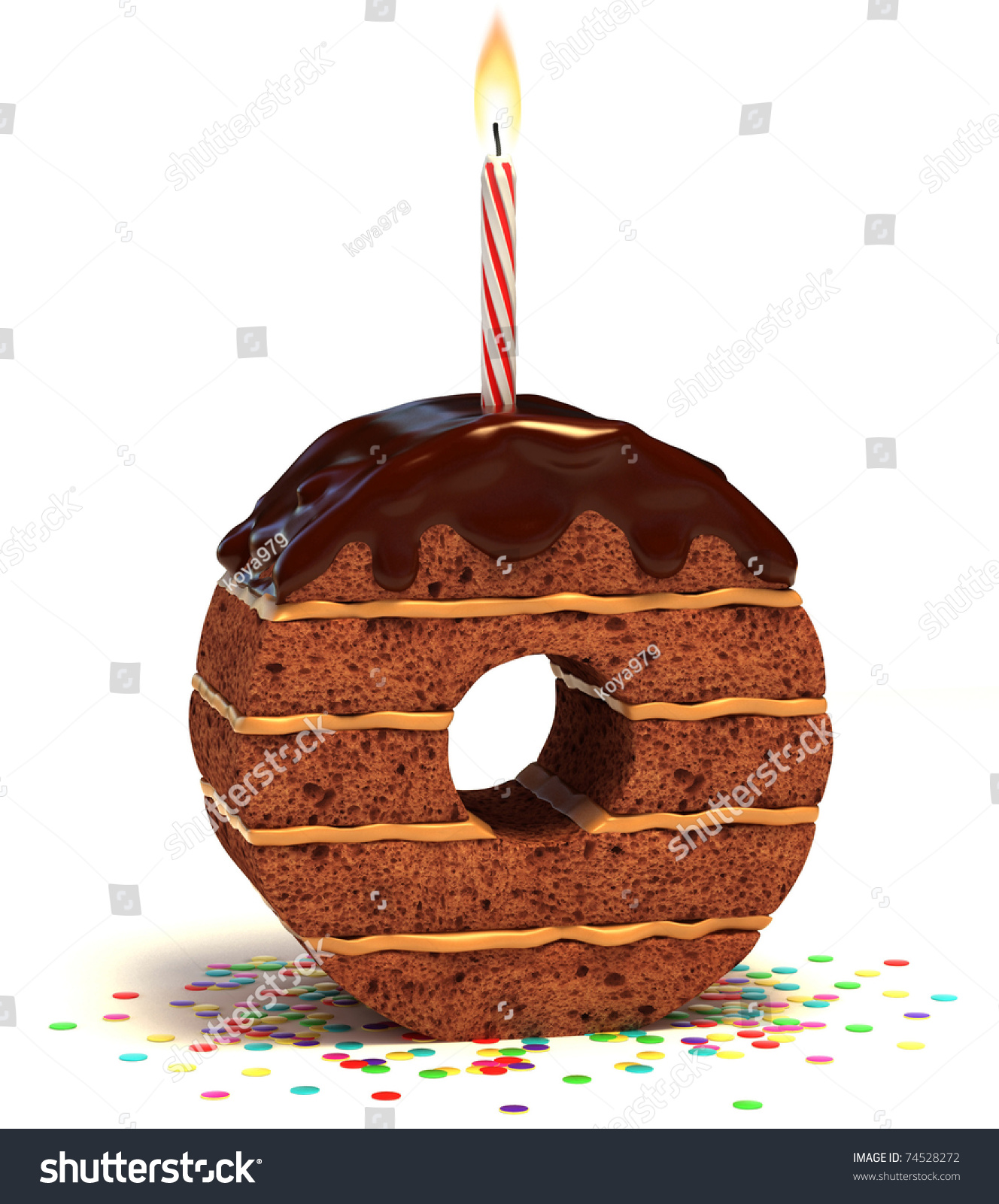 Letter O Shaped Chocolate Birthday Cake With Lit Candle