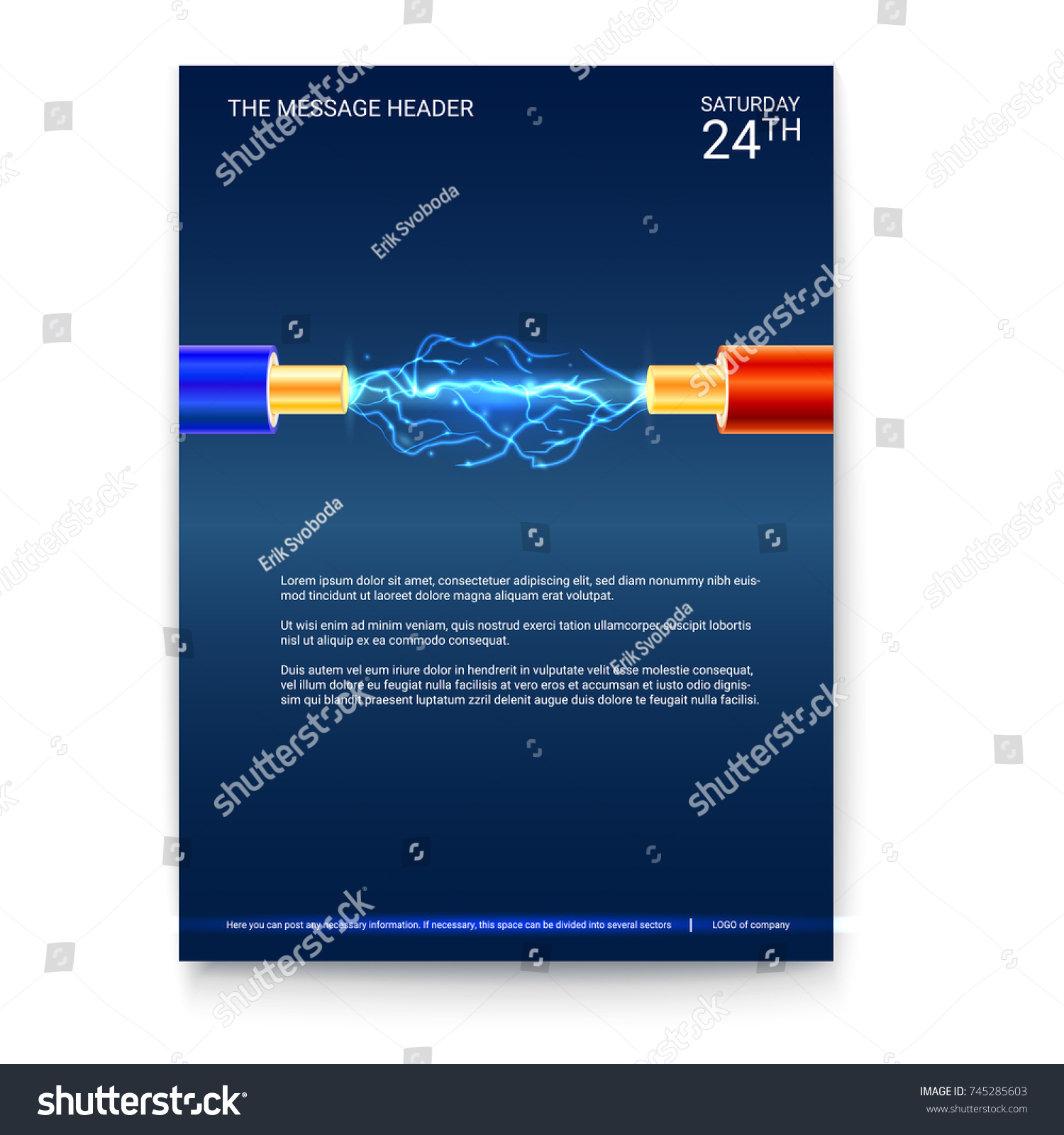 Poster Design Electric Cable Sparks Copper Stock Vector 745285603 ...