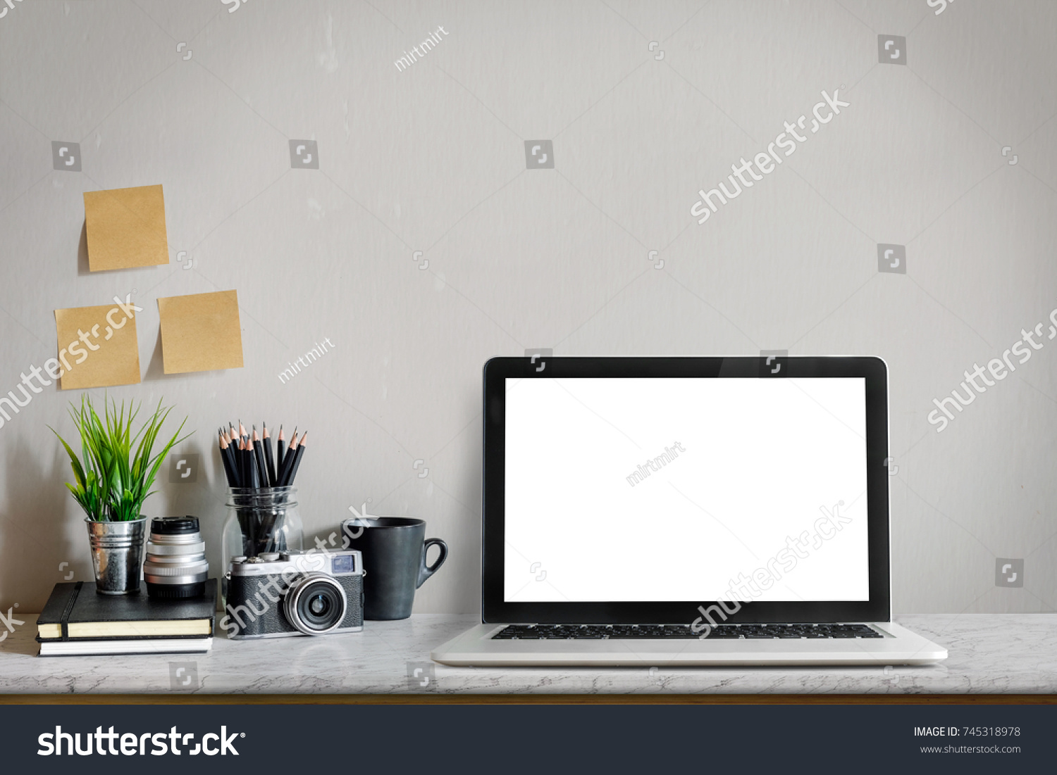 stylish home office computer room. Stylish Workplace Mockup. Home Office Workspace With Laptop Computer, Vintage Camera And Supplies Computer Room