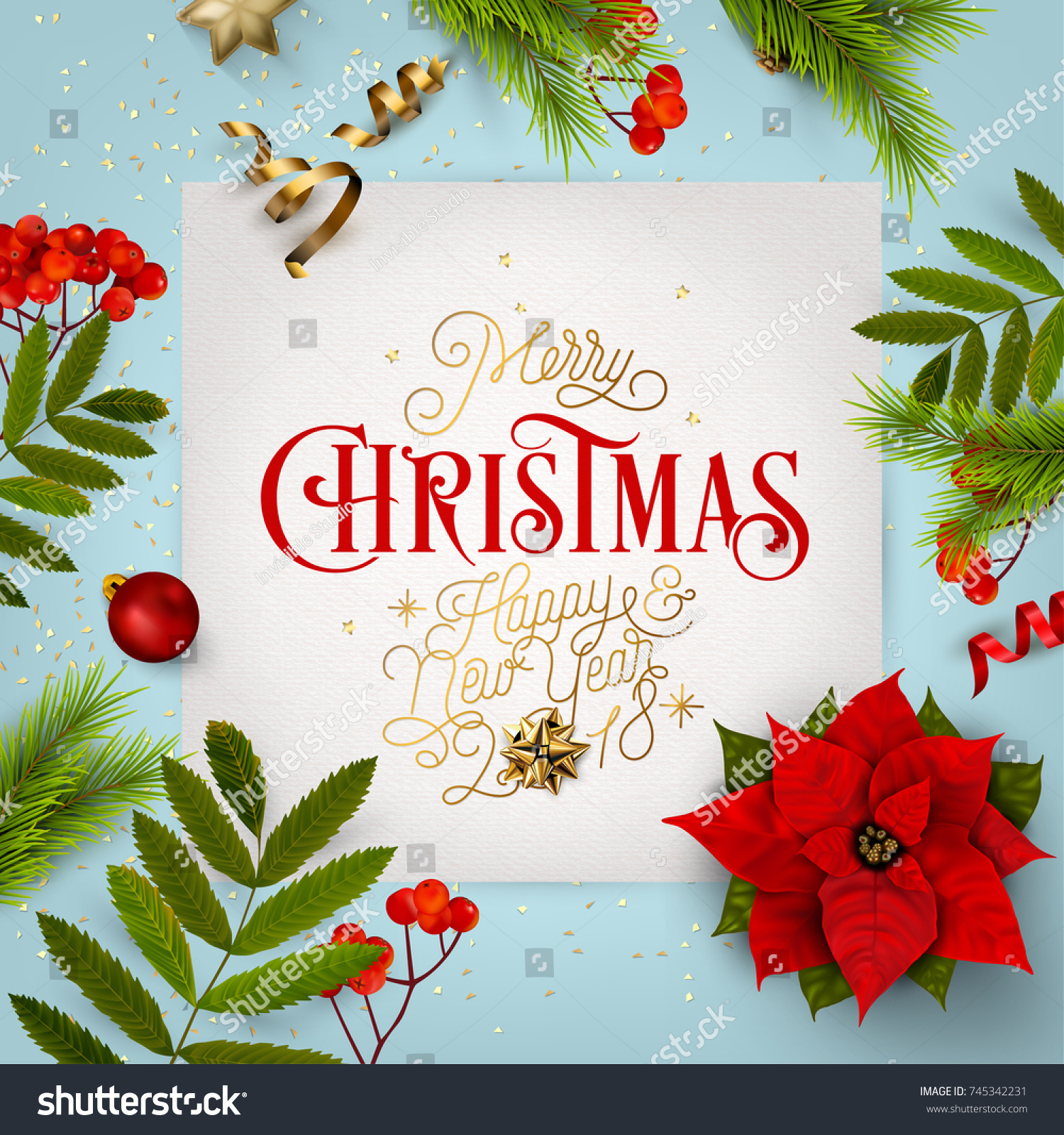Merry Christmas Everyone Vintage Background Typography Stock Vector