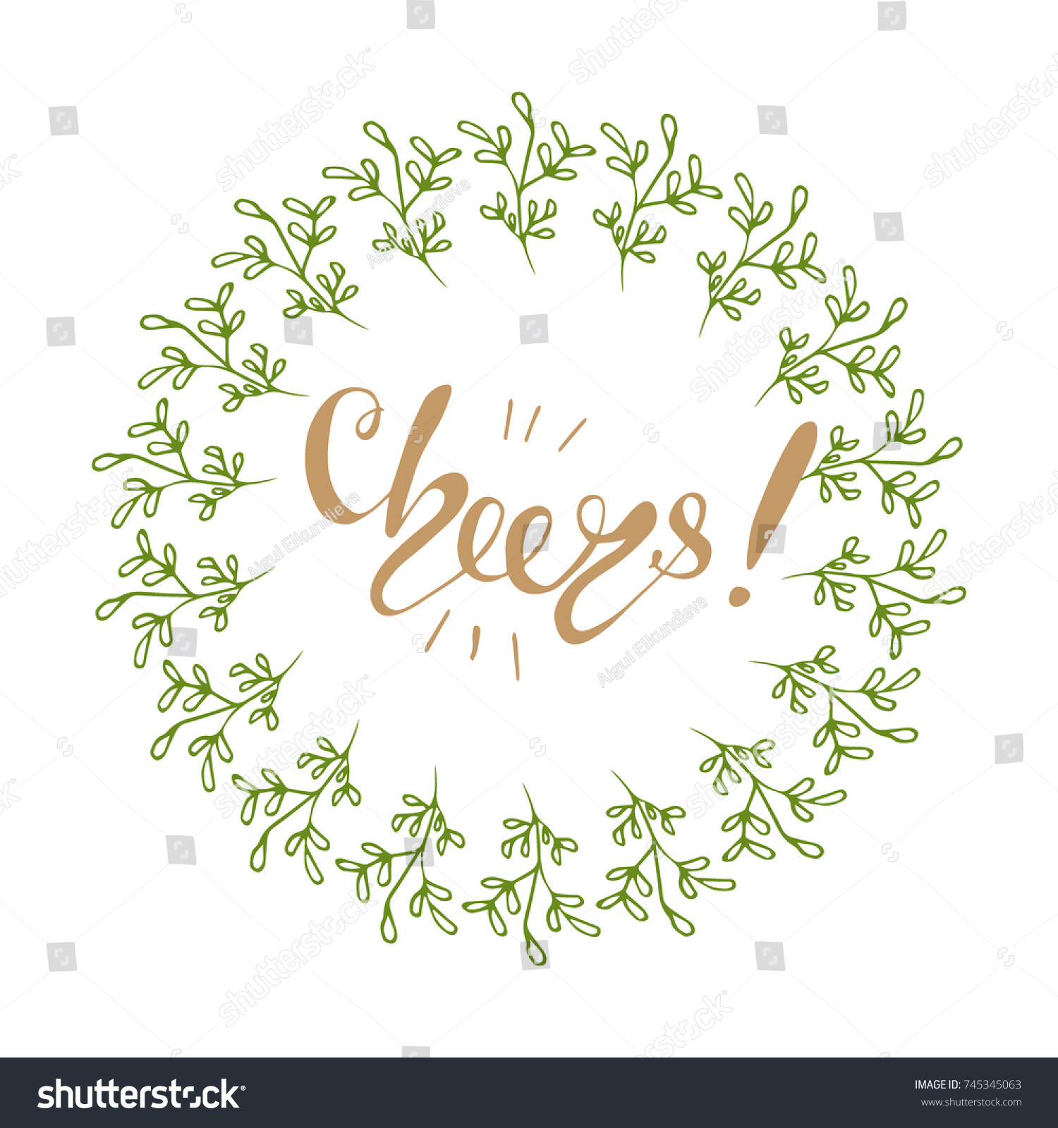 Vector Christmas Greeting Card Design With Lettering Cheers Ez