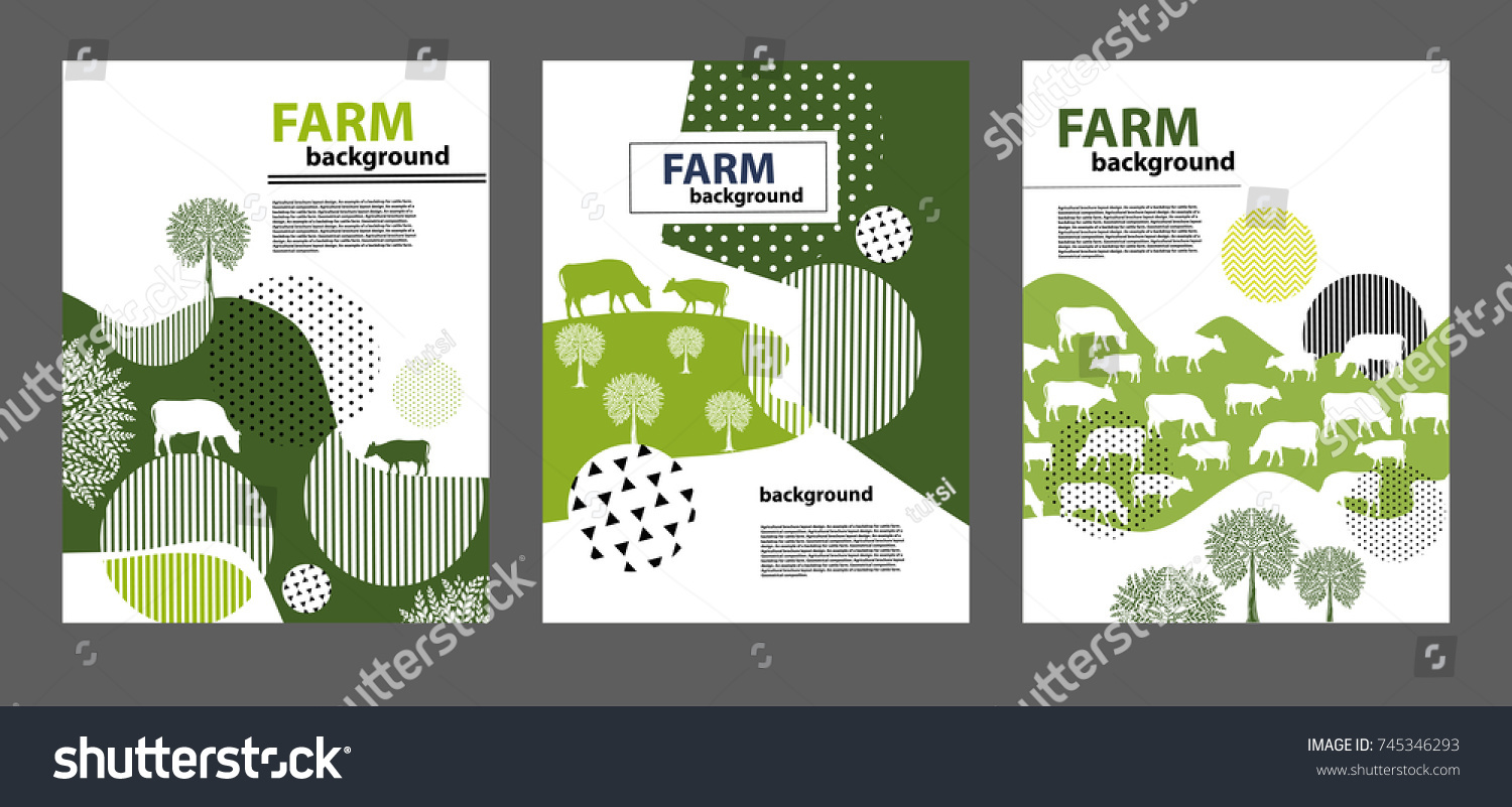 Agricultural Brochure Layout Design Example Backdrop Stockvector