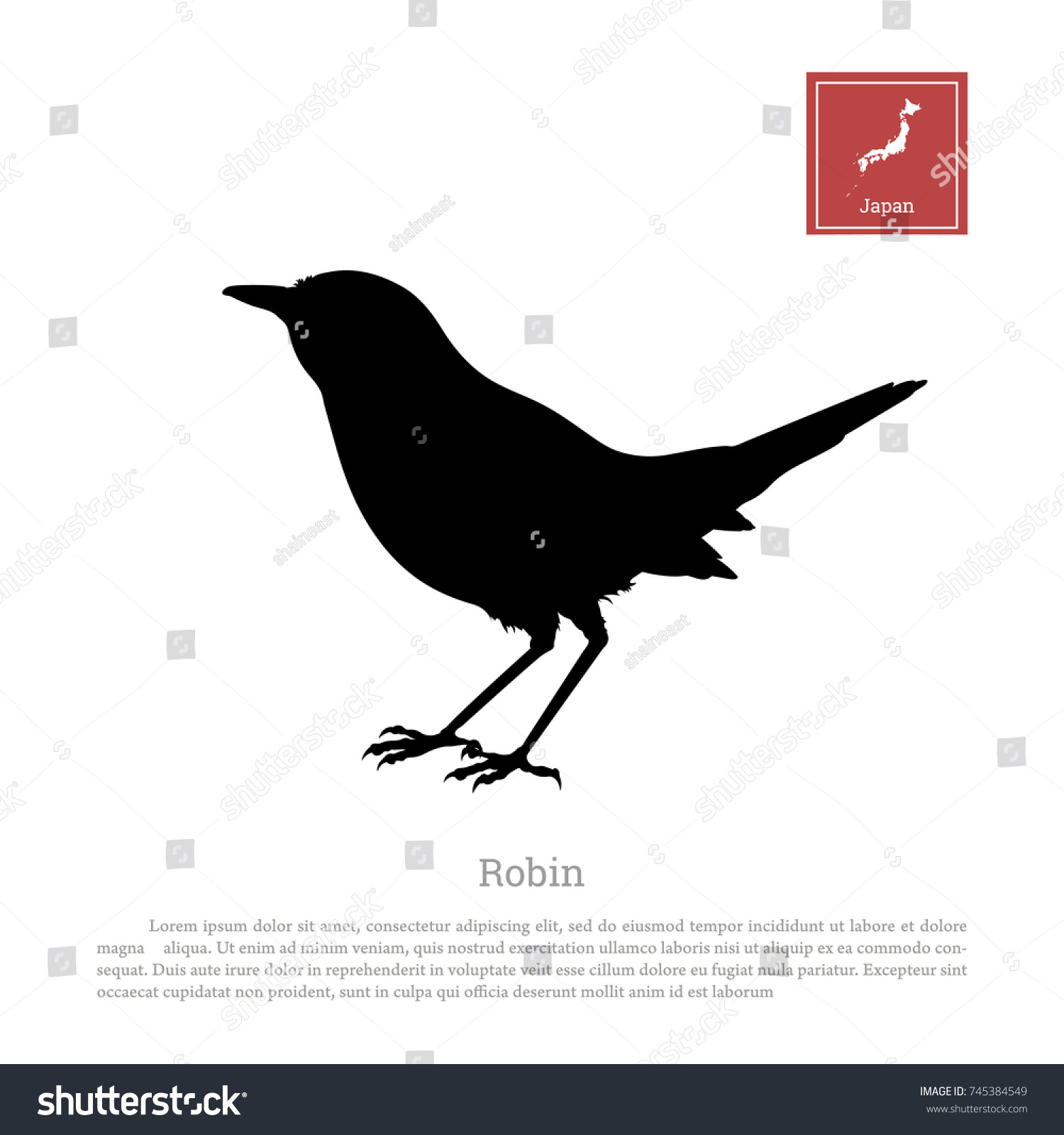 Black silhouette japanese robin on white stock vector 745384549 black silhouette of a japanese robin on white background erithacus rubecula bird animals of biocorpaavc