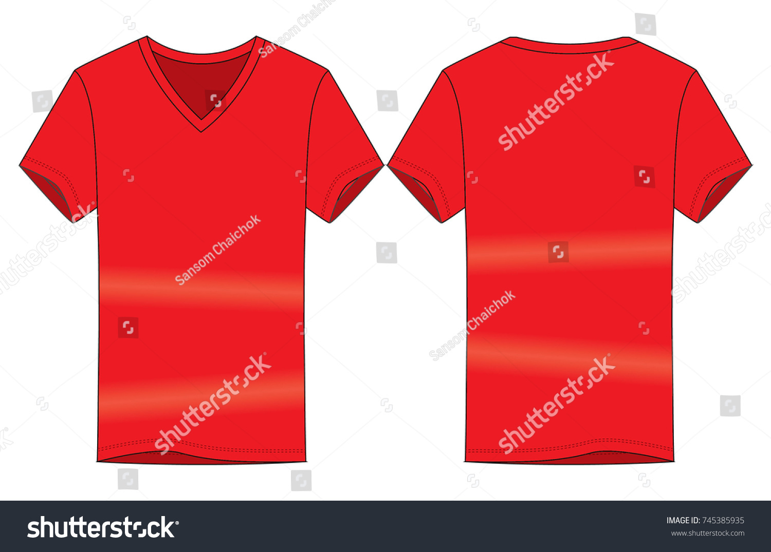Red V Neck Shirt Vector Template Front Stock Vector (Royalty Free ... eed731fe5c1a