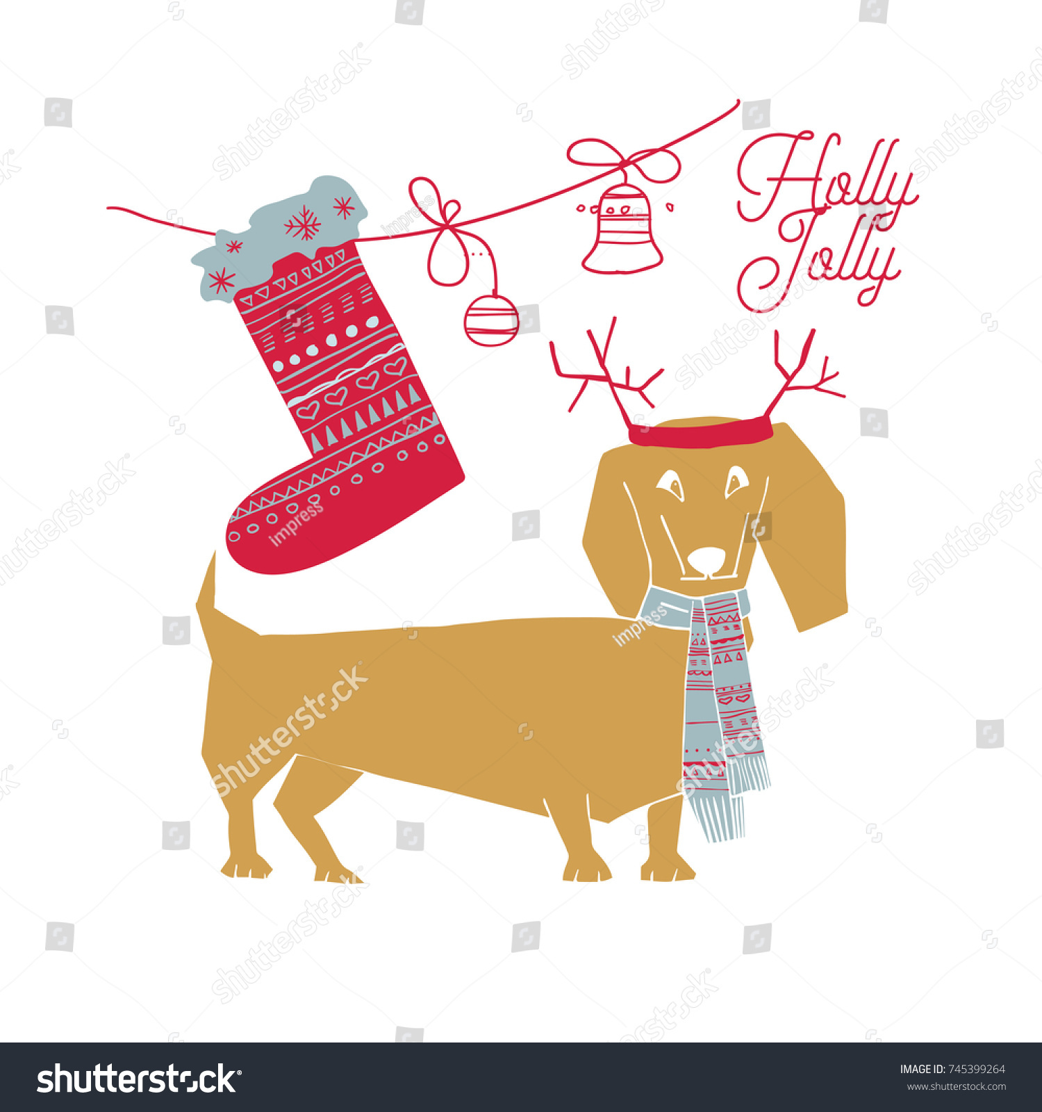 Vector illustration merry christmas greeting card stock vector vector illustration of merry christmas greeting card with dog in santa hat and quoteandinavian kristyandbryce Image collections