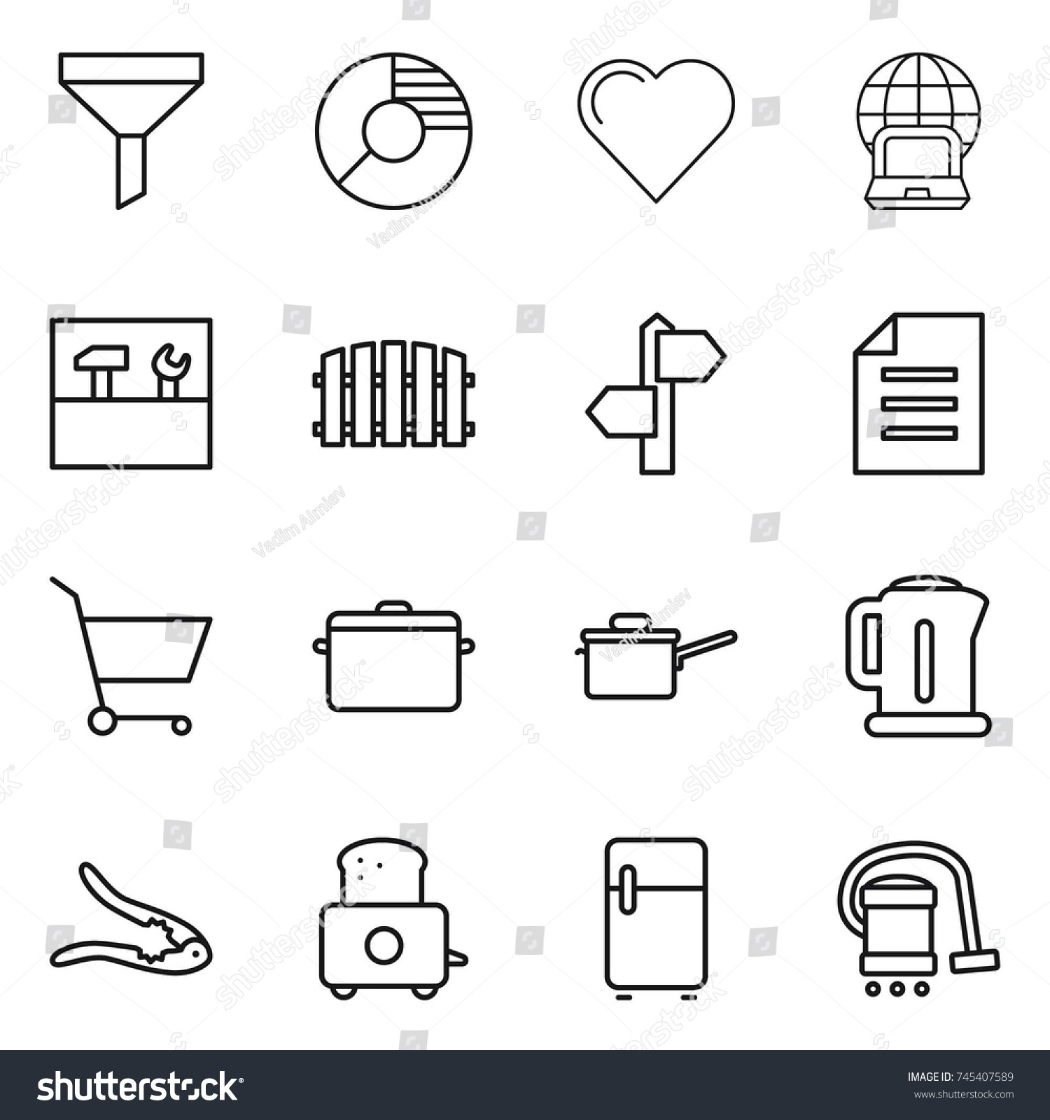 Thin line icon set funnel circle stock vector 745407589 shutterstock thin line icon set funnel circle diagram heart notebook globe tools ccuart Image collections
