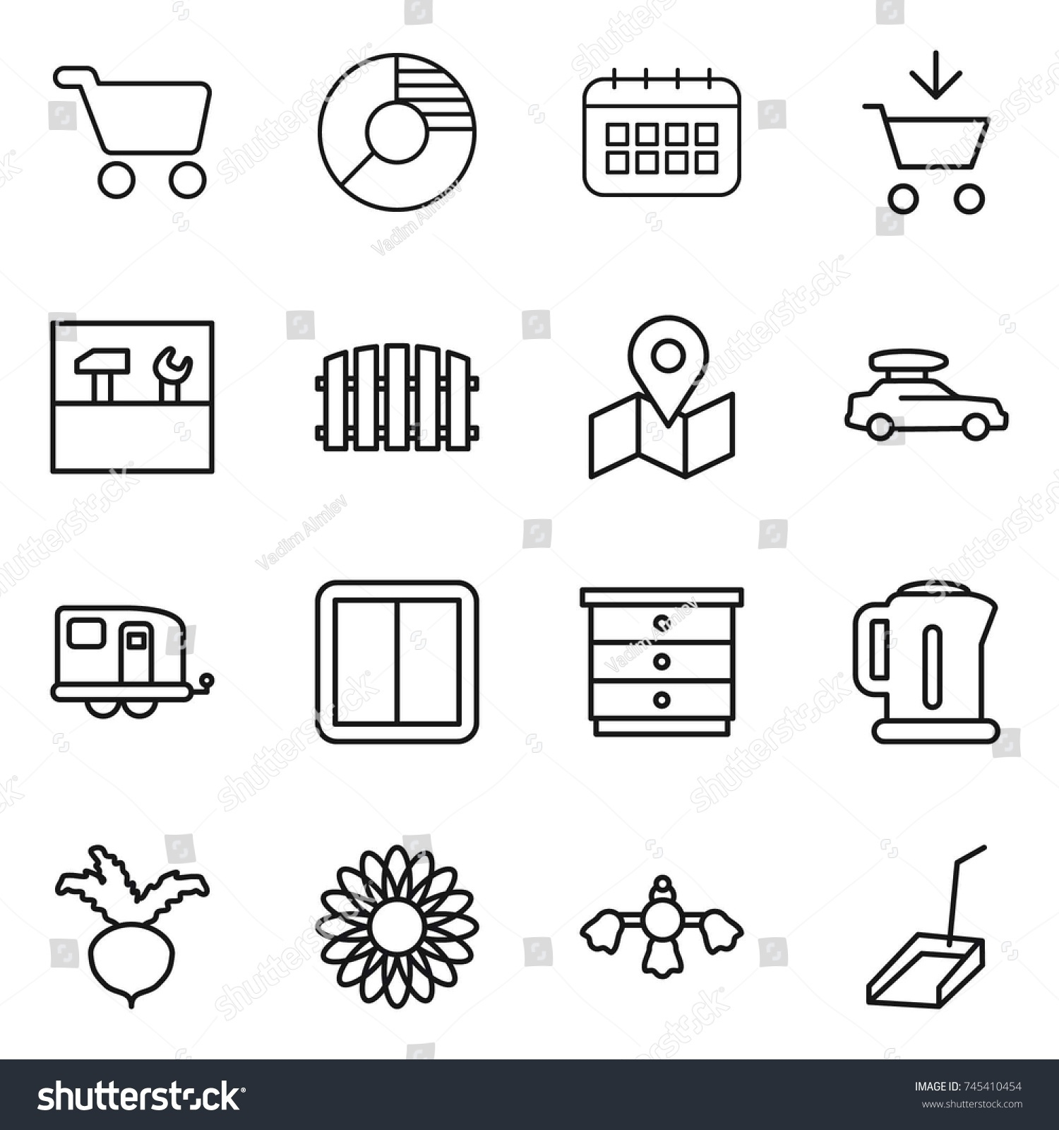 Thin line icon set cart circle stock vector 745410454 shutterstock thin line icon set cart circle diagram calendar add to tools ccuart Image collections