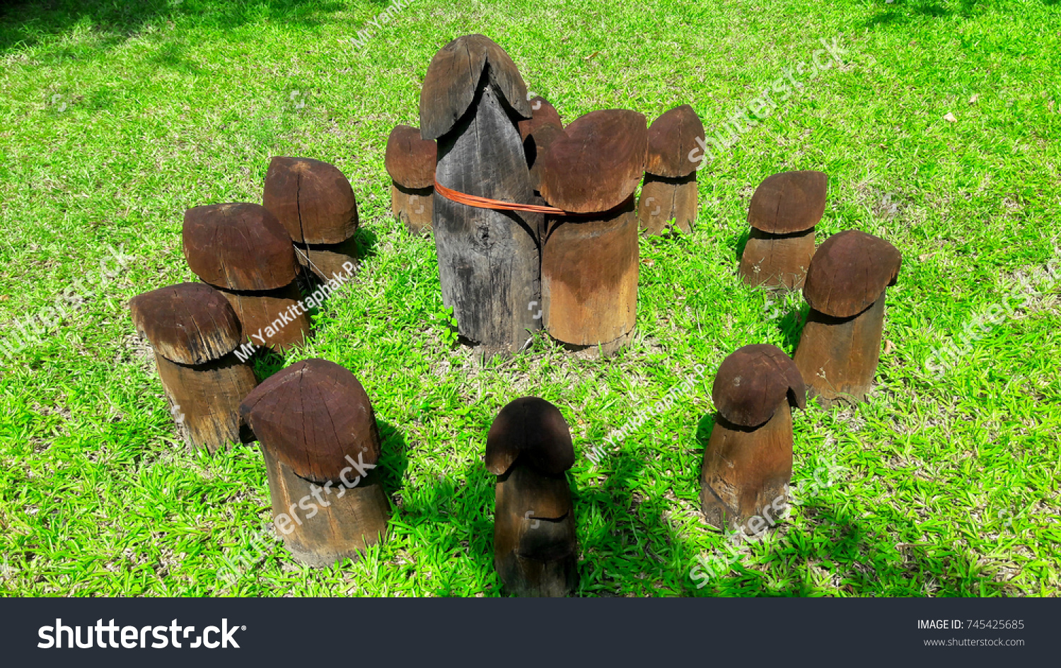Close up of small wooden image of penis. On green grass garden background