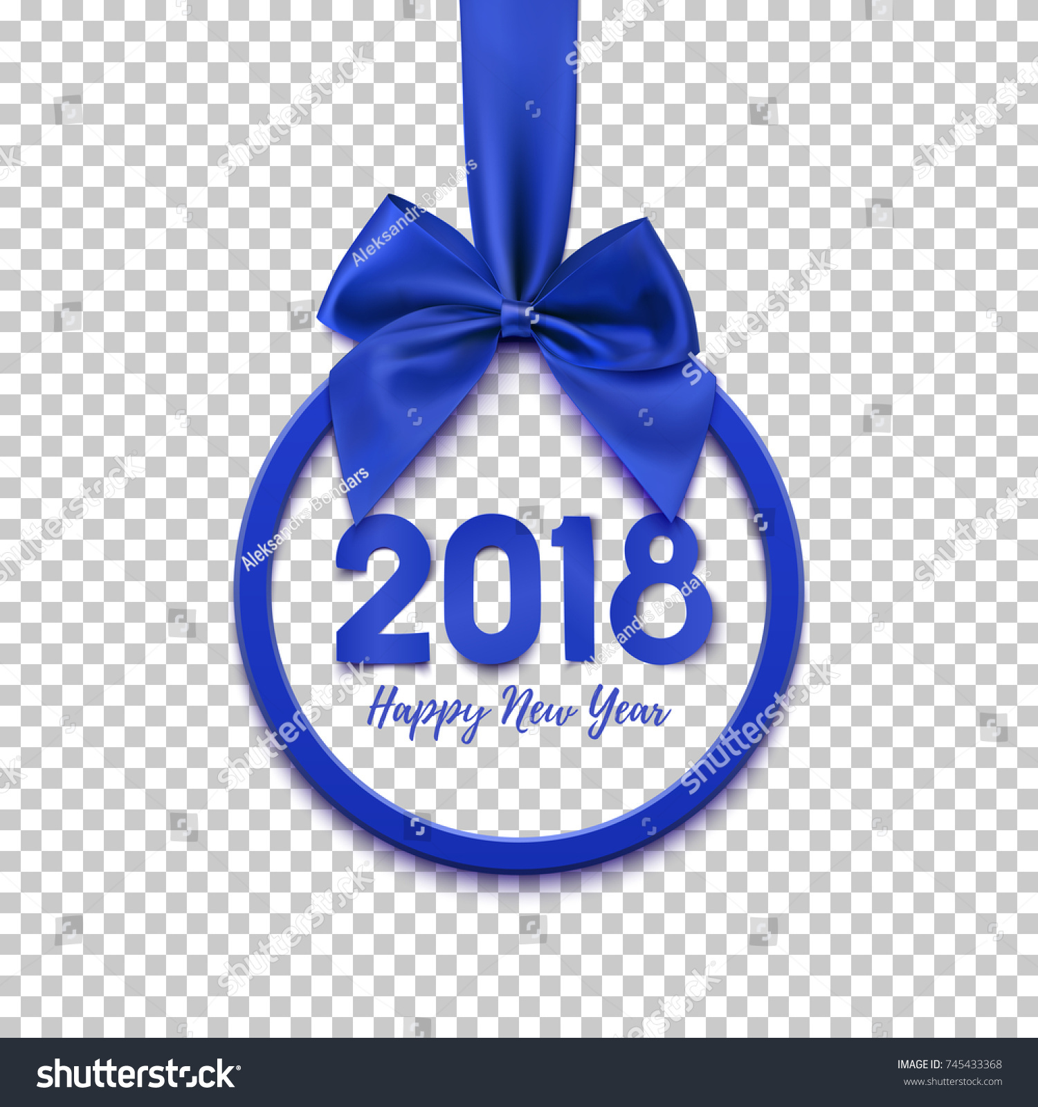 happy new year 2018 round banner with purple ribbon and bow on transparent background