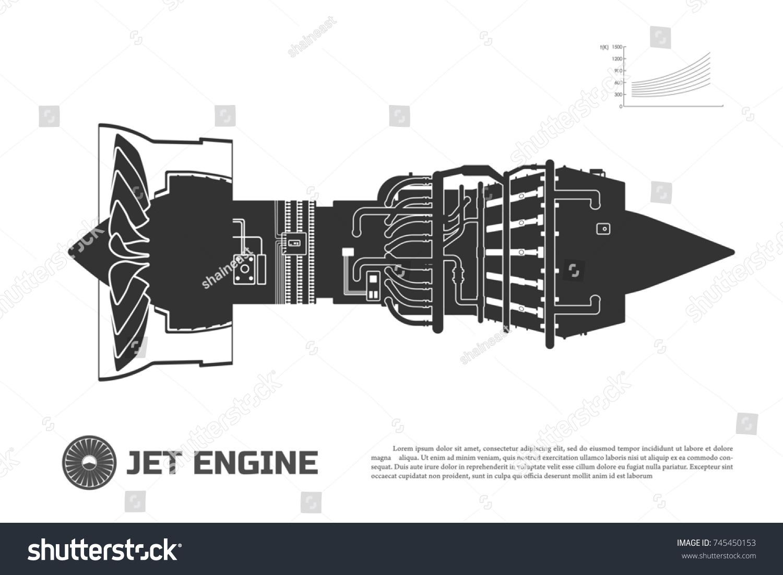 Silhouette Jet Engine Aircraft Part Airplane Stock Illustration Turbojet Diagram Of The Side View Aerospase