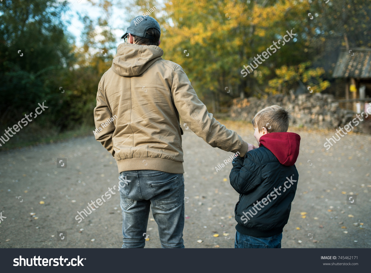 5c88143971cd2 Father Son Walking Together Outside Autumn Stock Photo (Edit Now ...