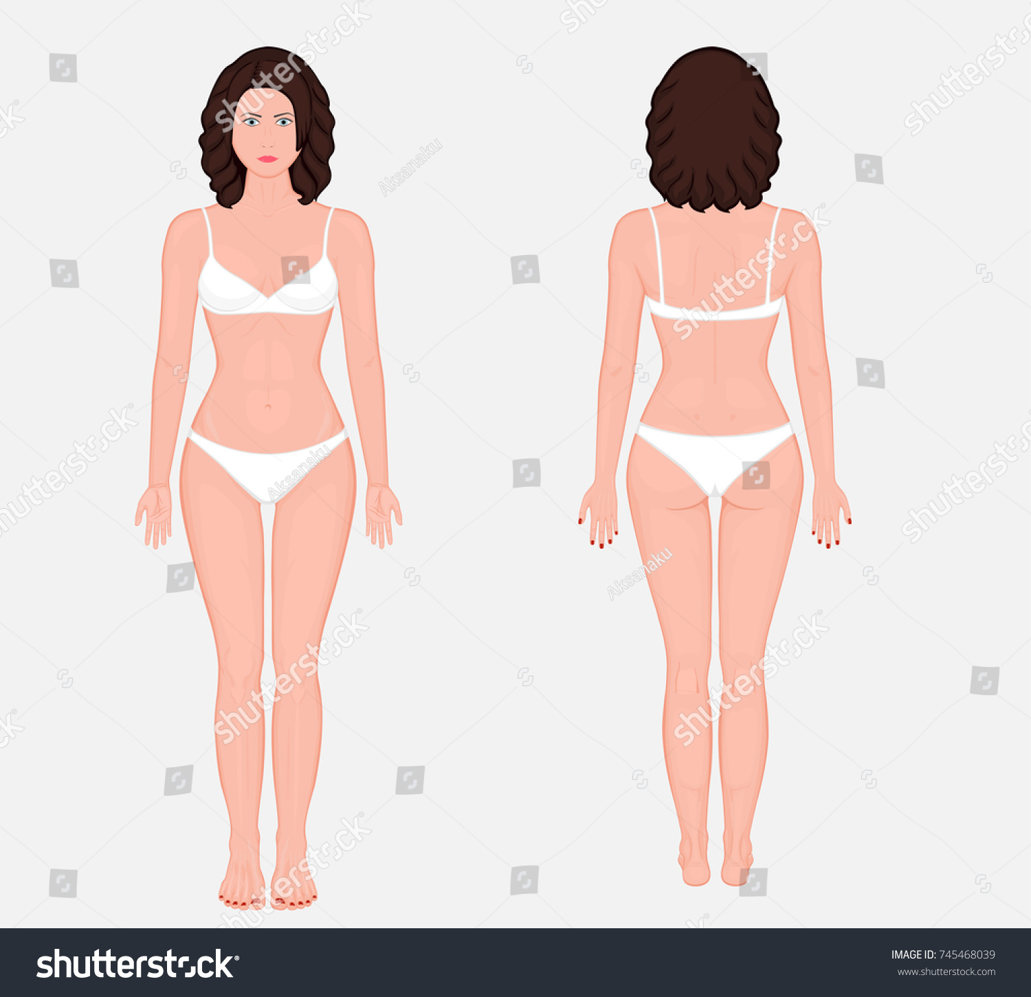 Posterior, frontal, anterior, back views of naked body of European woman in  full