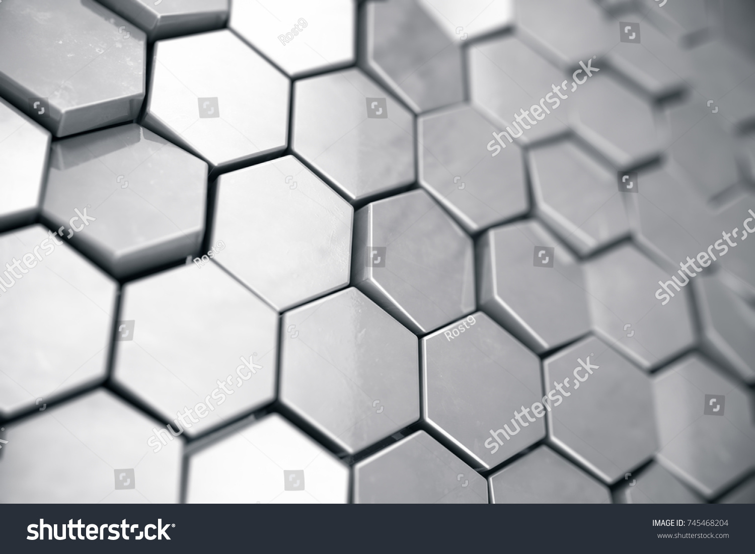 Silver Abstract Hexagonal Background Depth Field Stock Illustration ...