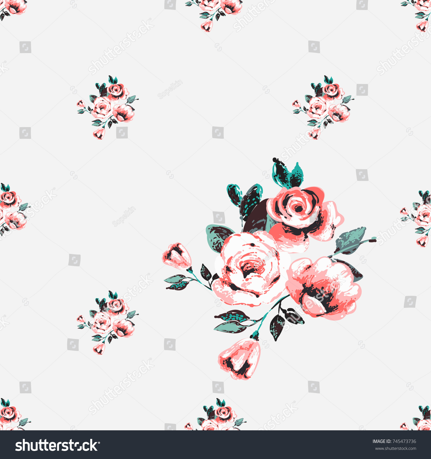 Vintage Traditional Pink Flowers Bouquet Vector Seamless Pattern In