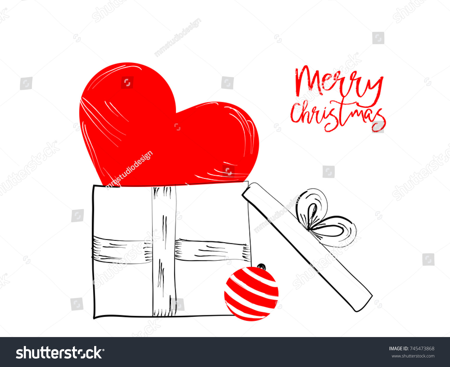Merry Christmas Greetings Cards Hand Drawn Stock Vector (Royalty ...