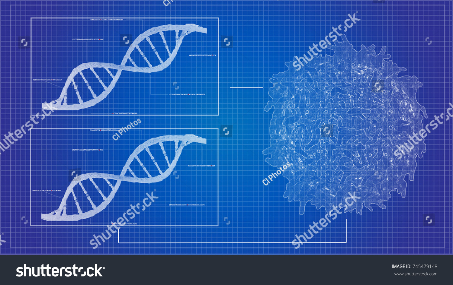Blueprint concept cancer cell lymphocyte t ilustracin en stock blueprint concept of cancer cell lymphocyte t and dna helix background sequencing data analysis malvernweather Choice Image