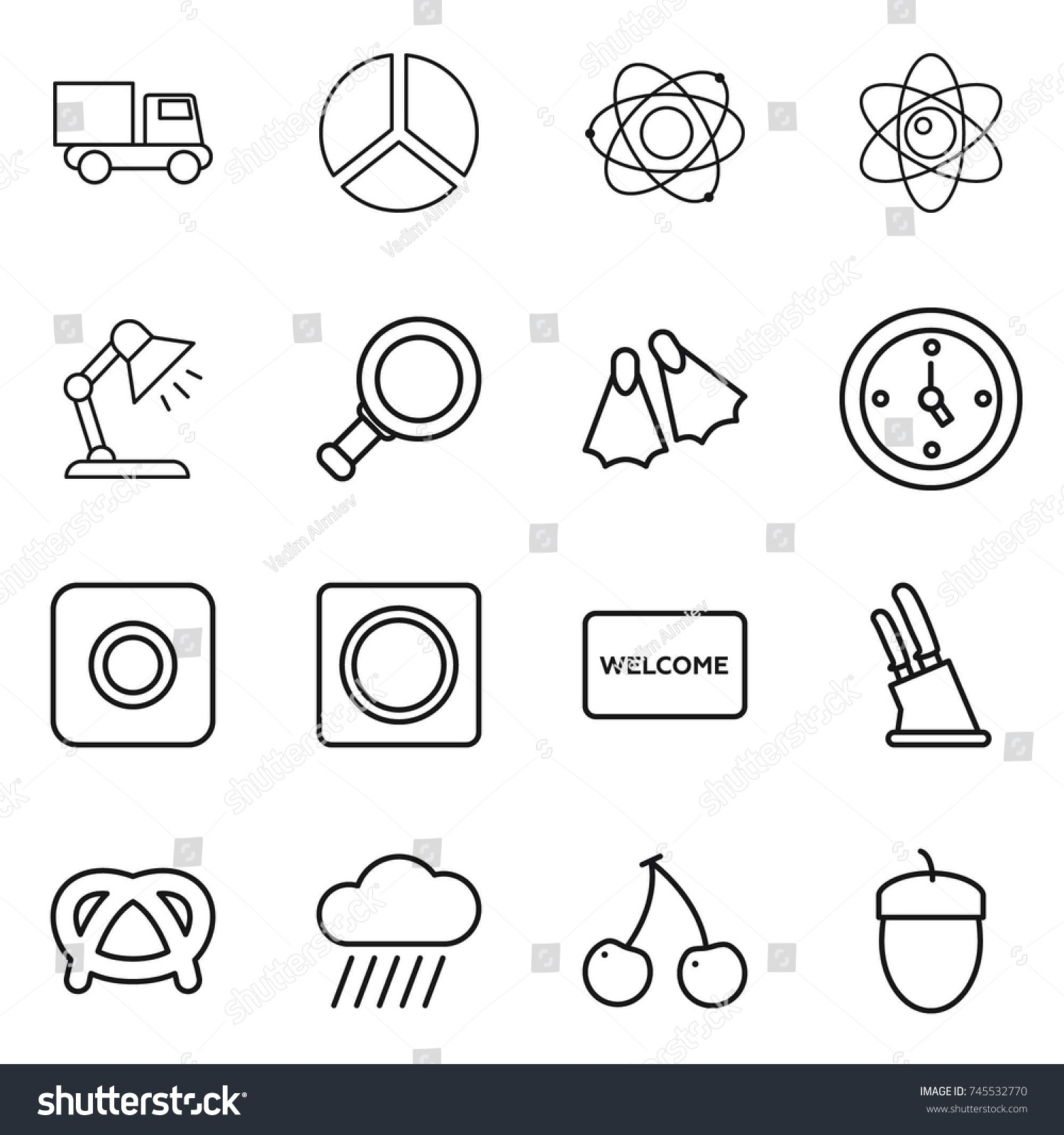 Thin line icon set truck diagram stock vector 745532770 shutterstock thin line icon set truck diagram atom table lamp magnifier ccuart Choice Image