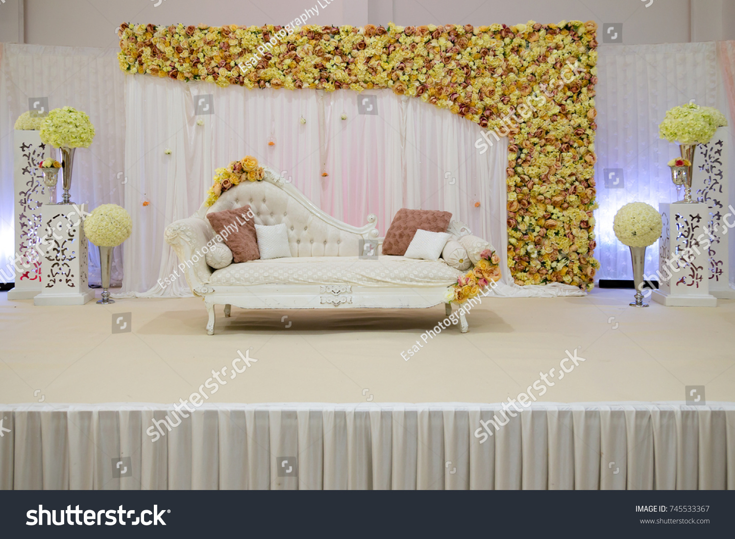 Floral Themed Wedding Stage Light Background Stock Photo (Royalty ...