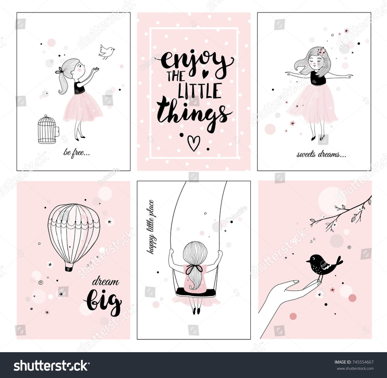 Cute Little Girl Bird Quotes Posters Stockvector Rechtenvrij