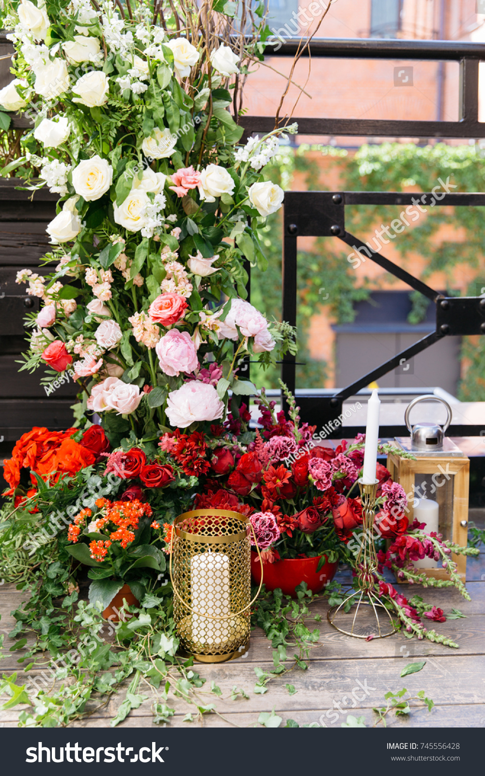 Wedding Arch Fresh Flowers Candles On Stock Photo Royalty Free