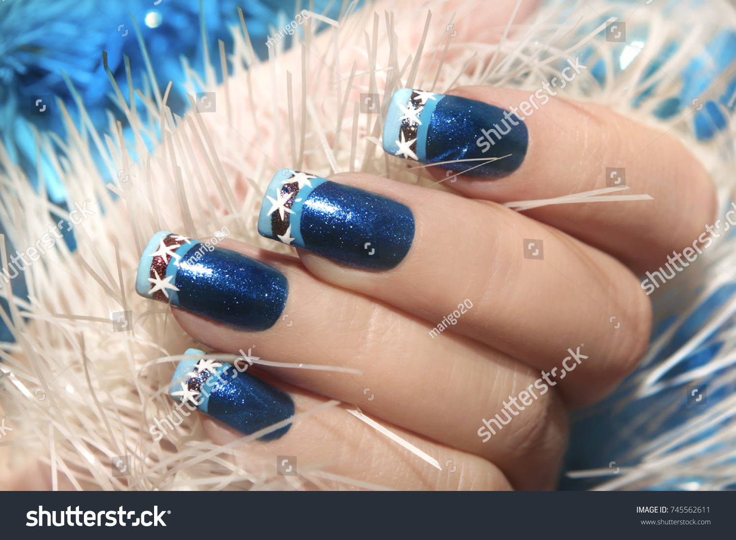 Christmas Winter Blue Design French Manicure Stock Photo (Safe to ...