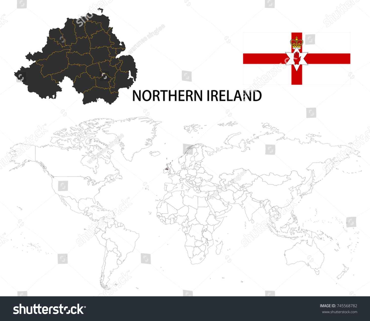 Northern Ireland Map On World Map Stock Vector (Royalty Free ...