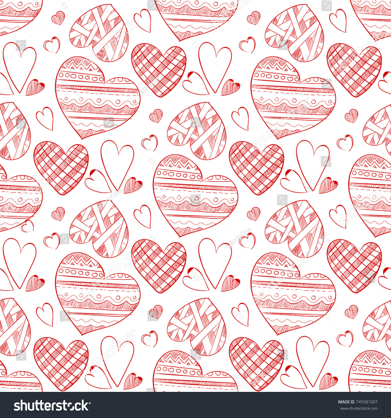 Red Doodle Hearts Seamless Pattern Wallpaper Stock Vector HD