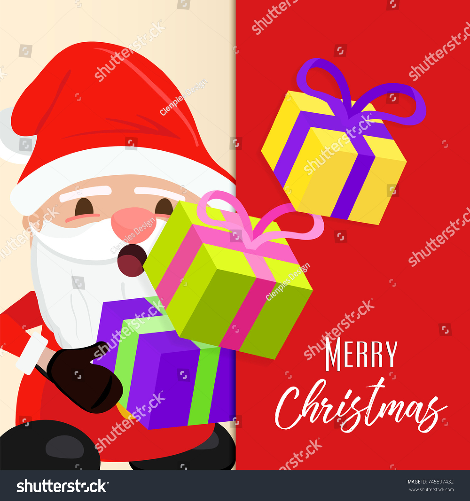 Merry Christmas Greeting Card Illustration Holiday Stock Vector