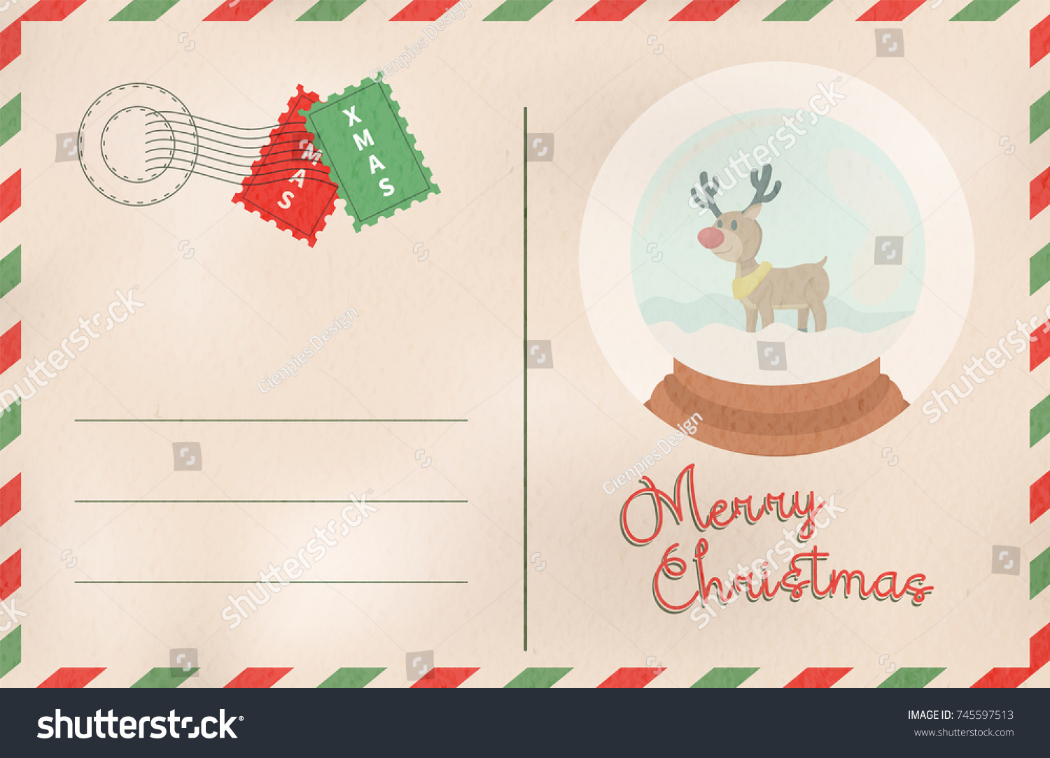Merry Christmas Postcard Traditional Vintage Mail Stock Vector