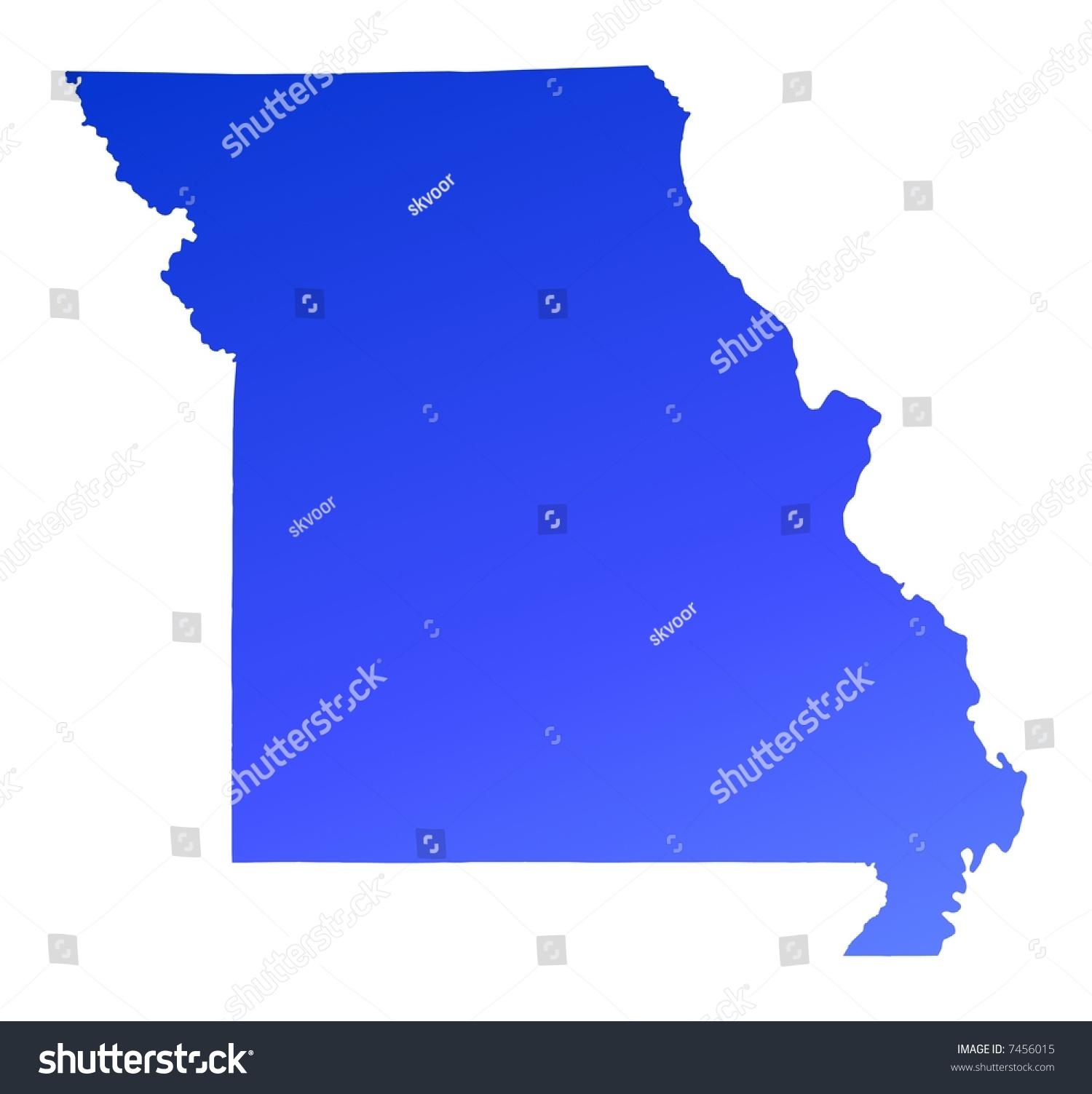 Blue Gradient Missouri Map Usa Detailed Stock Illustration 7456015