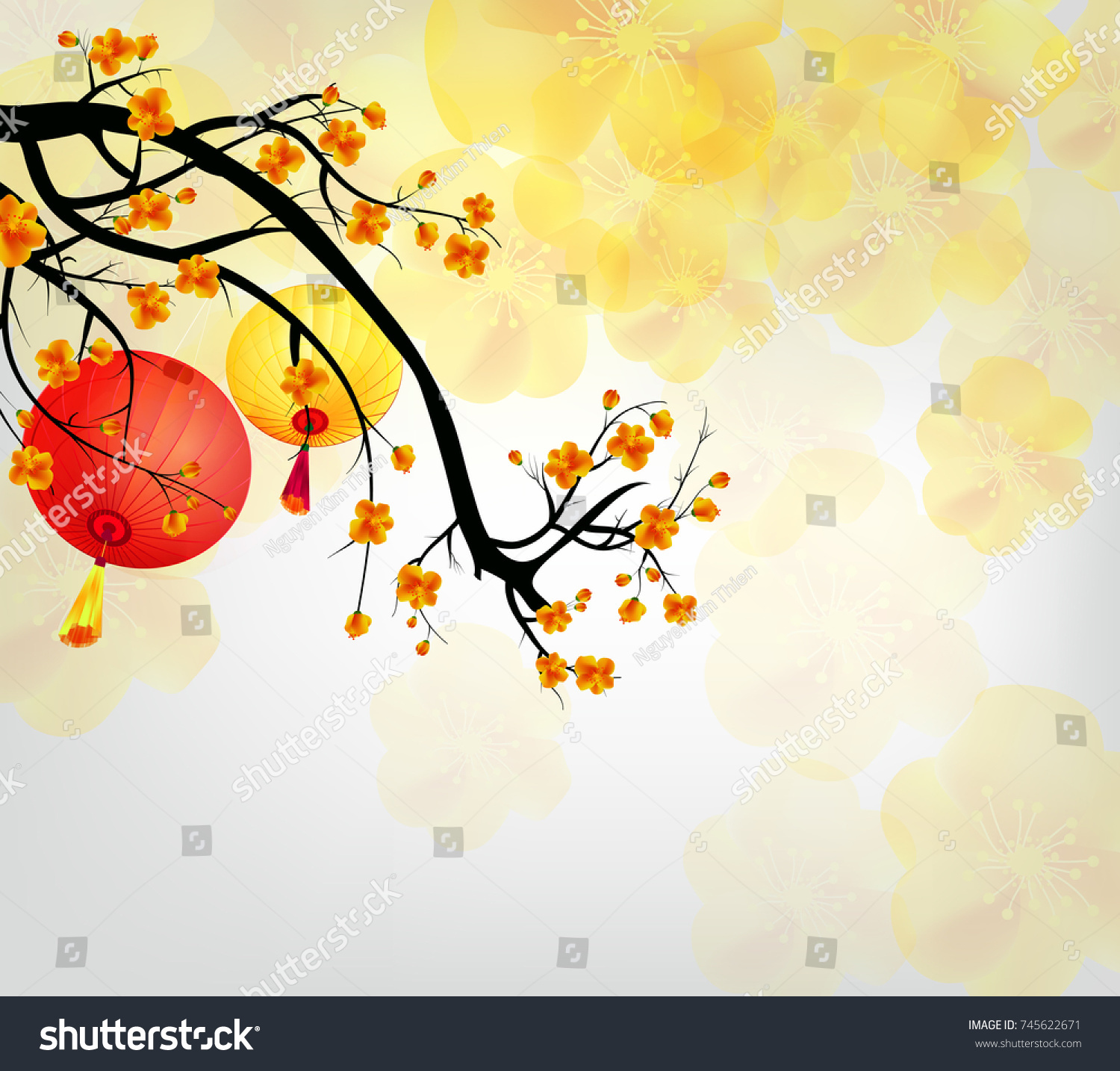 cherry blossom for chinese new year and lunar new year 2018 new year with background