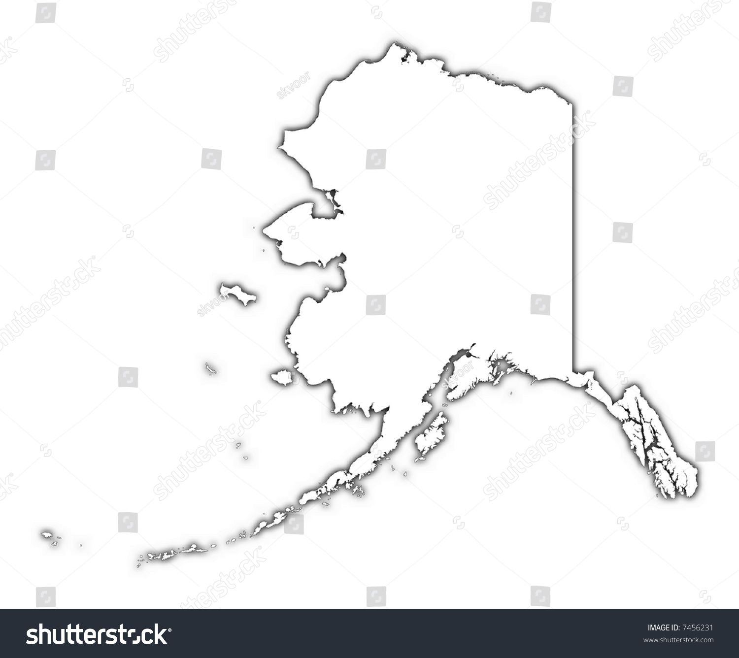 alaska usa outline map with shadow detailed mercator projection