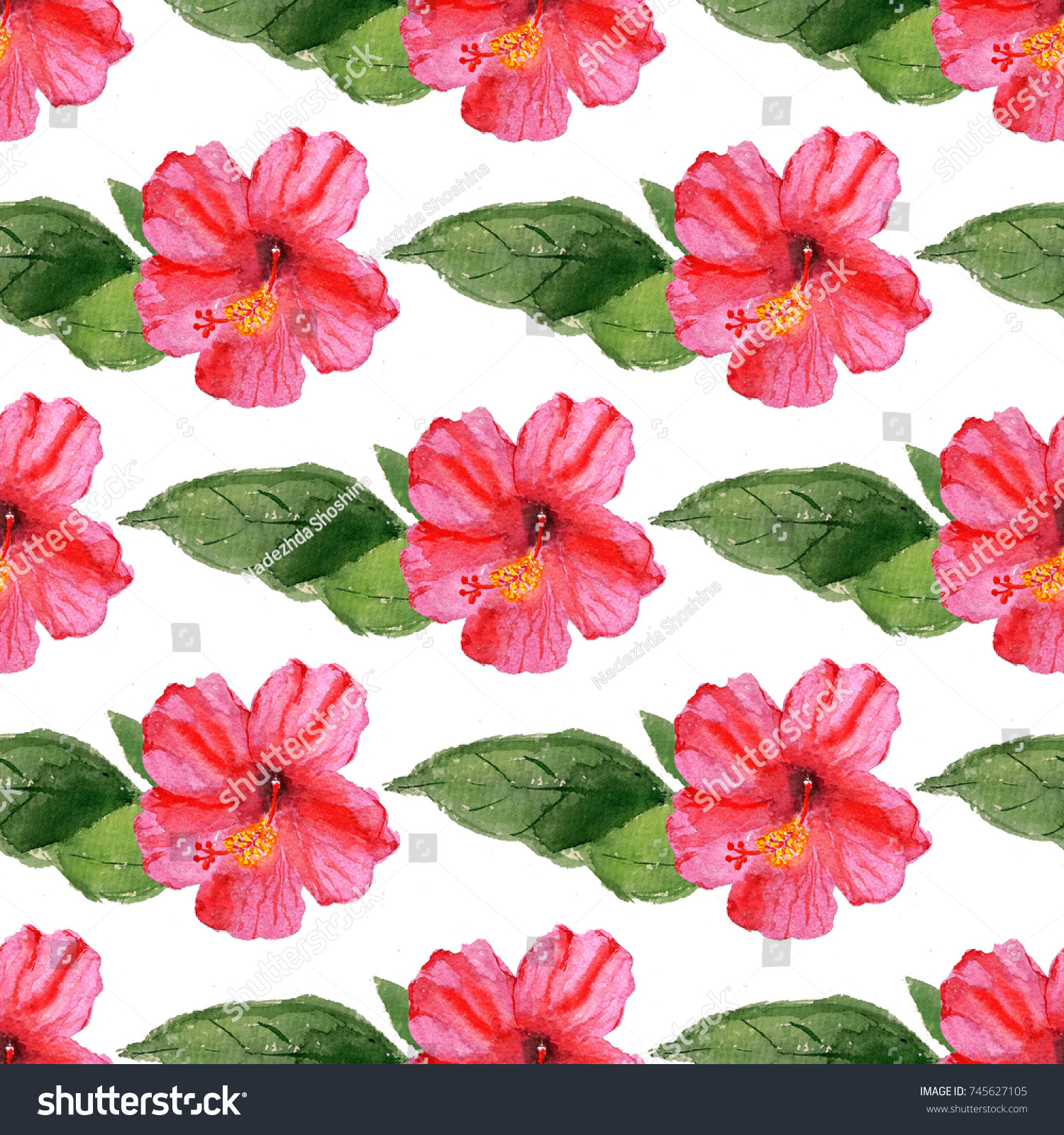 Seamless pattern watercolor image hibiscus flower stock illustration seamless pattern with watercolor image of hibiscus flower good for textile fabric design wrapping izmirmasajfo