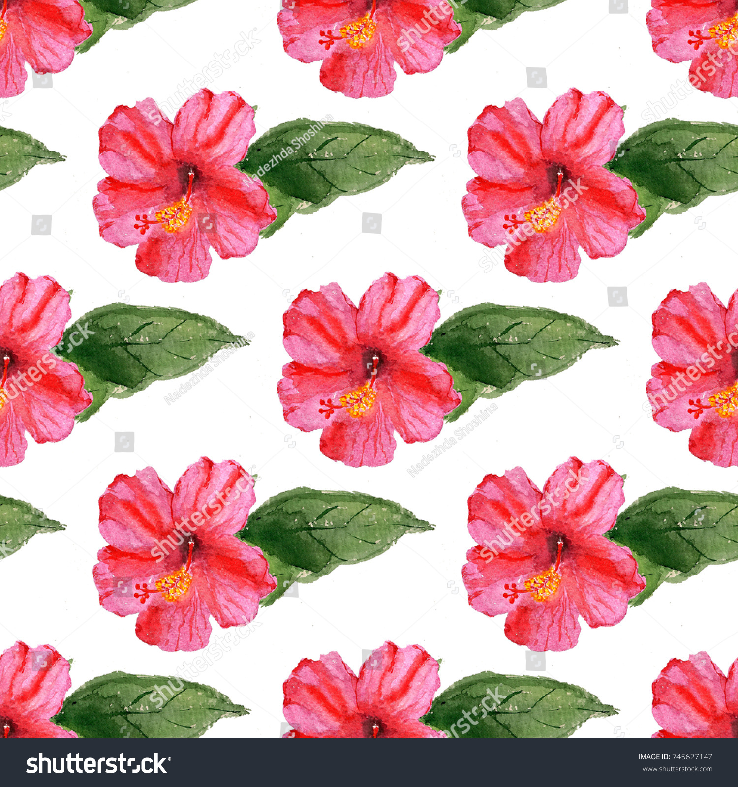 Seamless Pattern With Watercolor Image Of Hibiscus Flower Good For