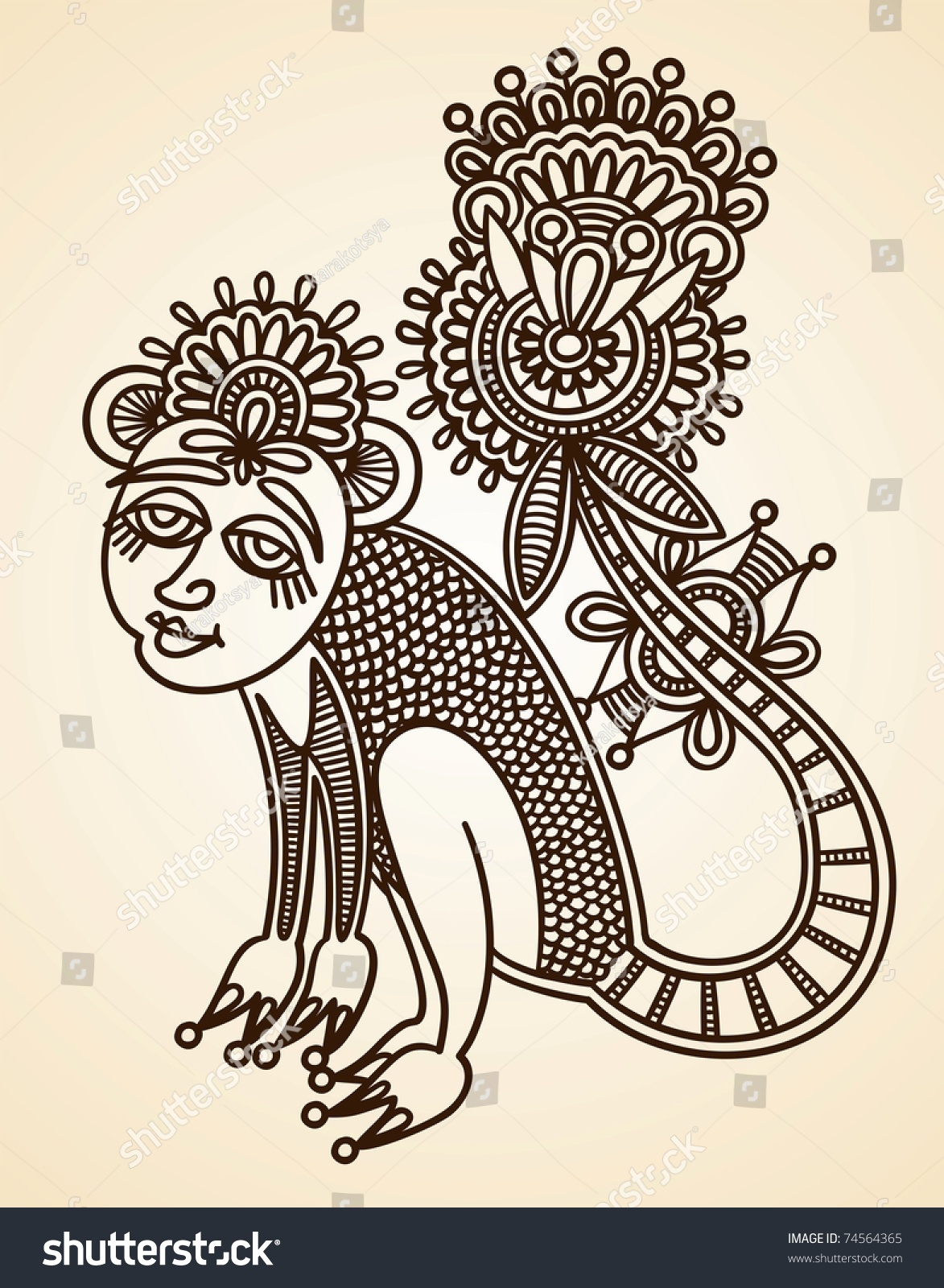 Hand Drawn Abstract Henna Mendie Animals Doodle Stock Vector