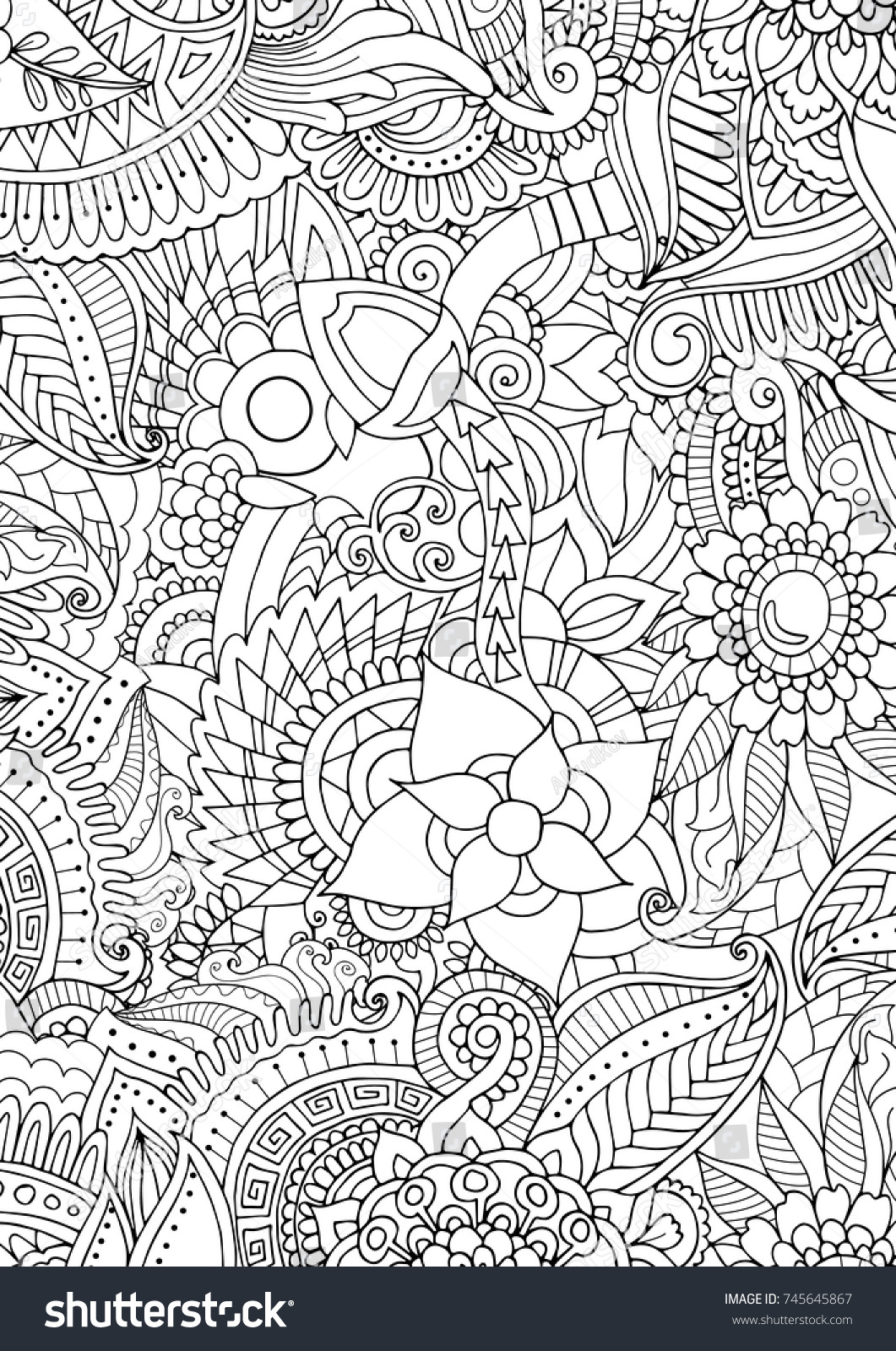 Fullpage A4 Zentangle Texture Background Adult Stock