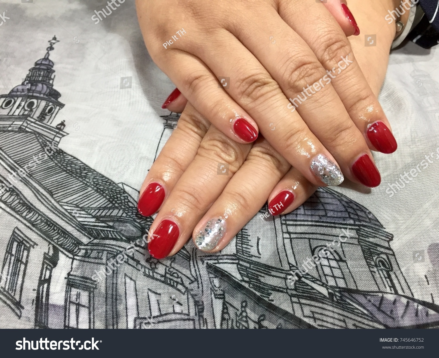 Nail Art Designs Red Silver Glitter Stock Photo (Royalty Free ...