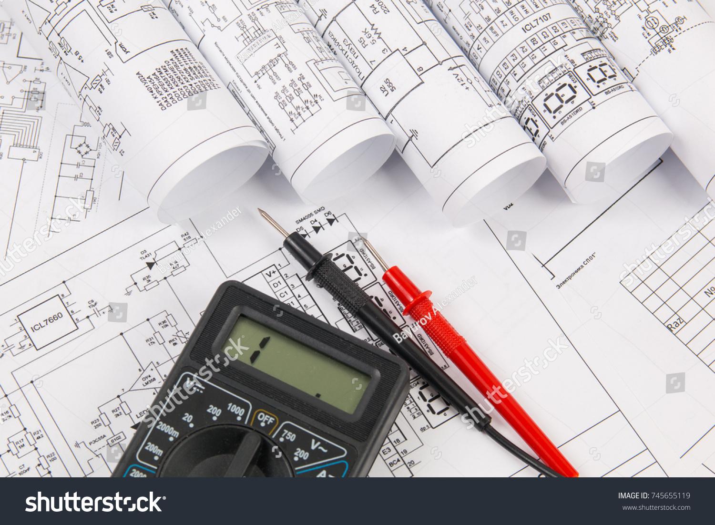 Electrical Engineering Drawings Digital Multimeter Stock Photo (Edit ...