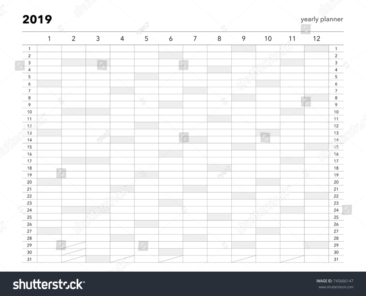 yearly planner 2019 calendar for companies and private use
