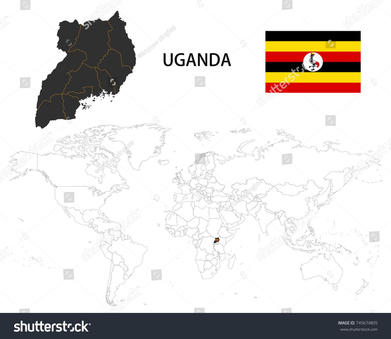 Uganda Map On World Map Flag Stock Vector (Royalty Free) 745674805 ...