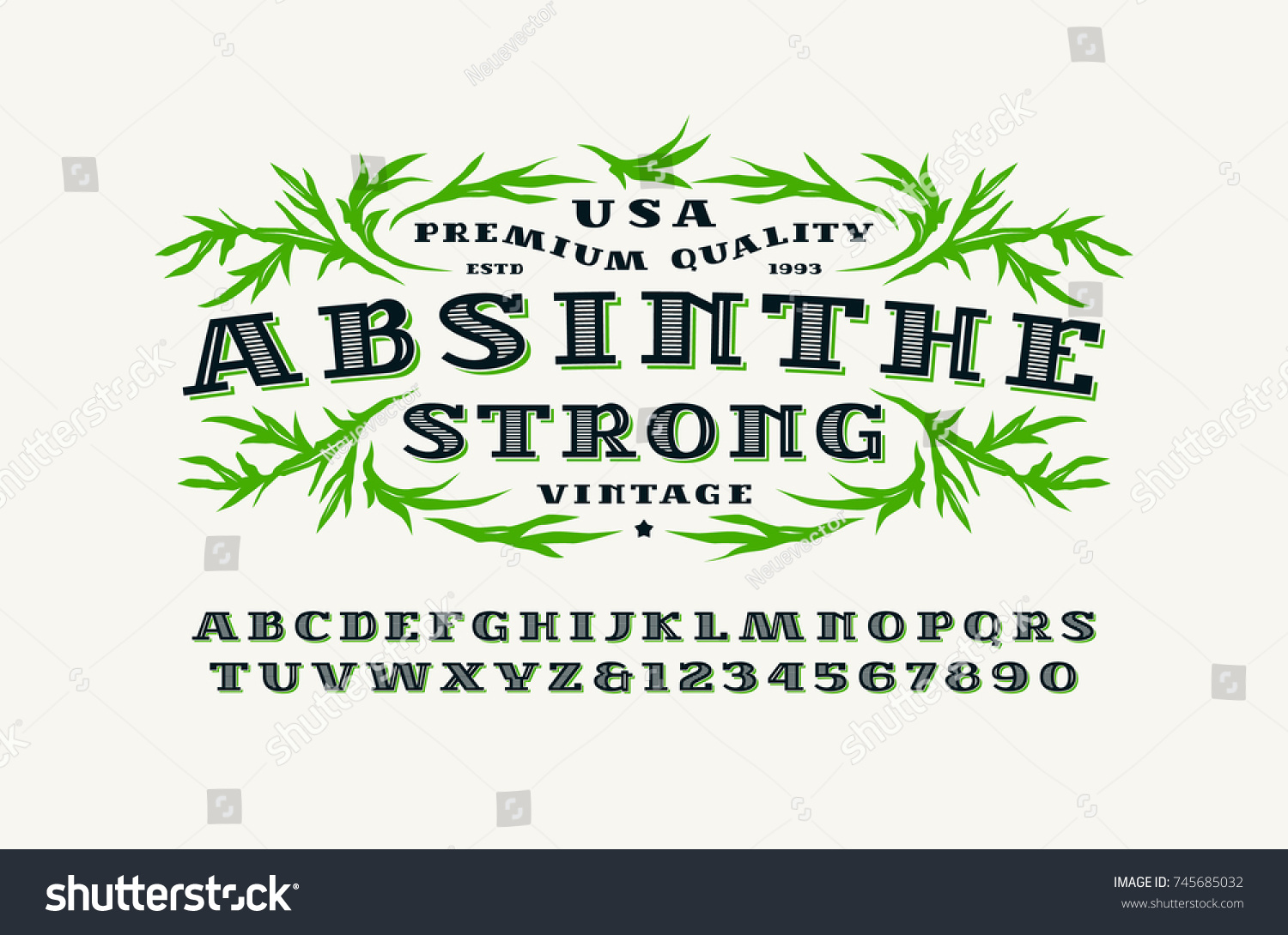 Ornate Serif Font Retro Style Absinthe Stock Photo (Photo, Vector ...