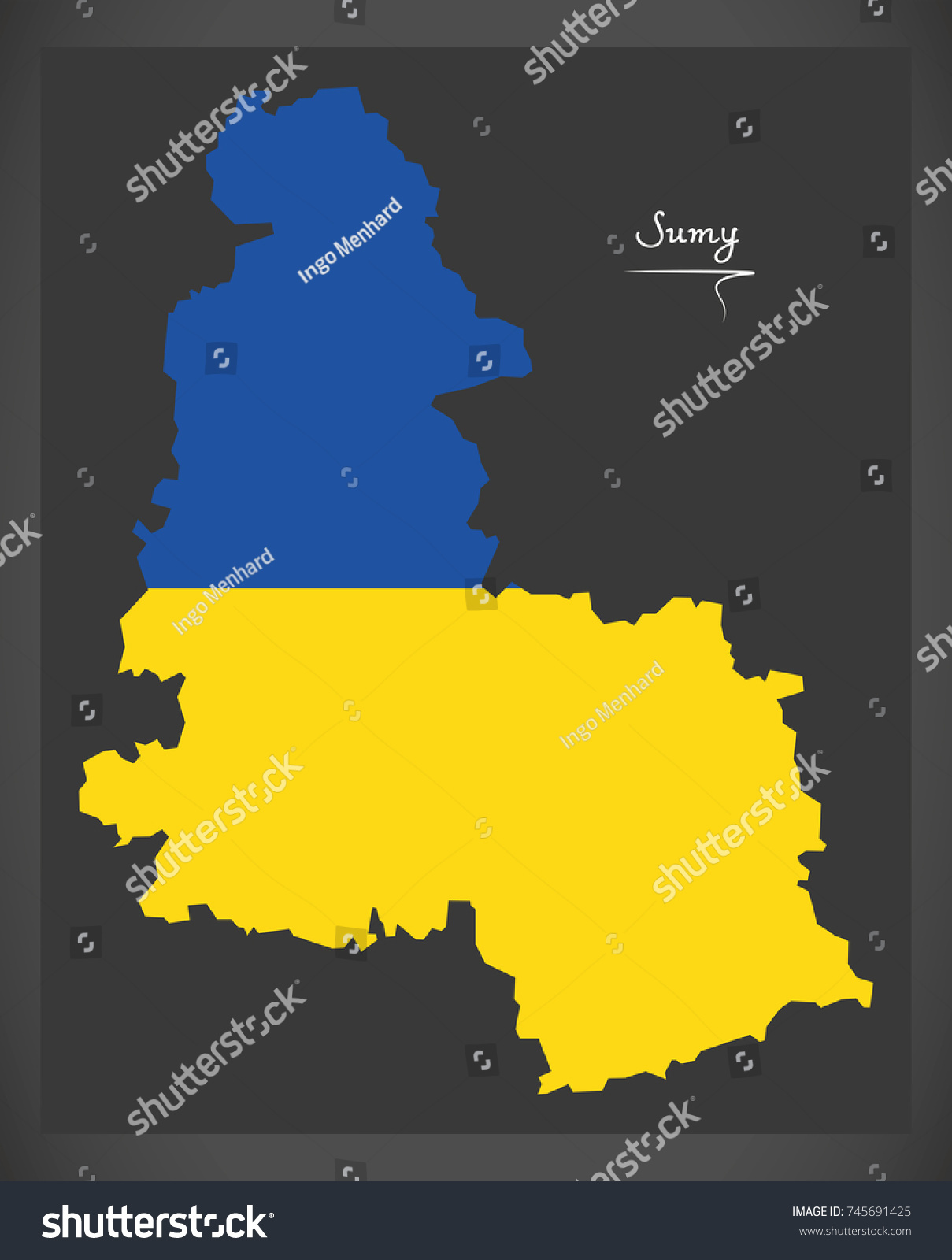 Sumy Map Ukraine Ukrainian National Flag Stock Vector 745691425