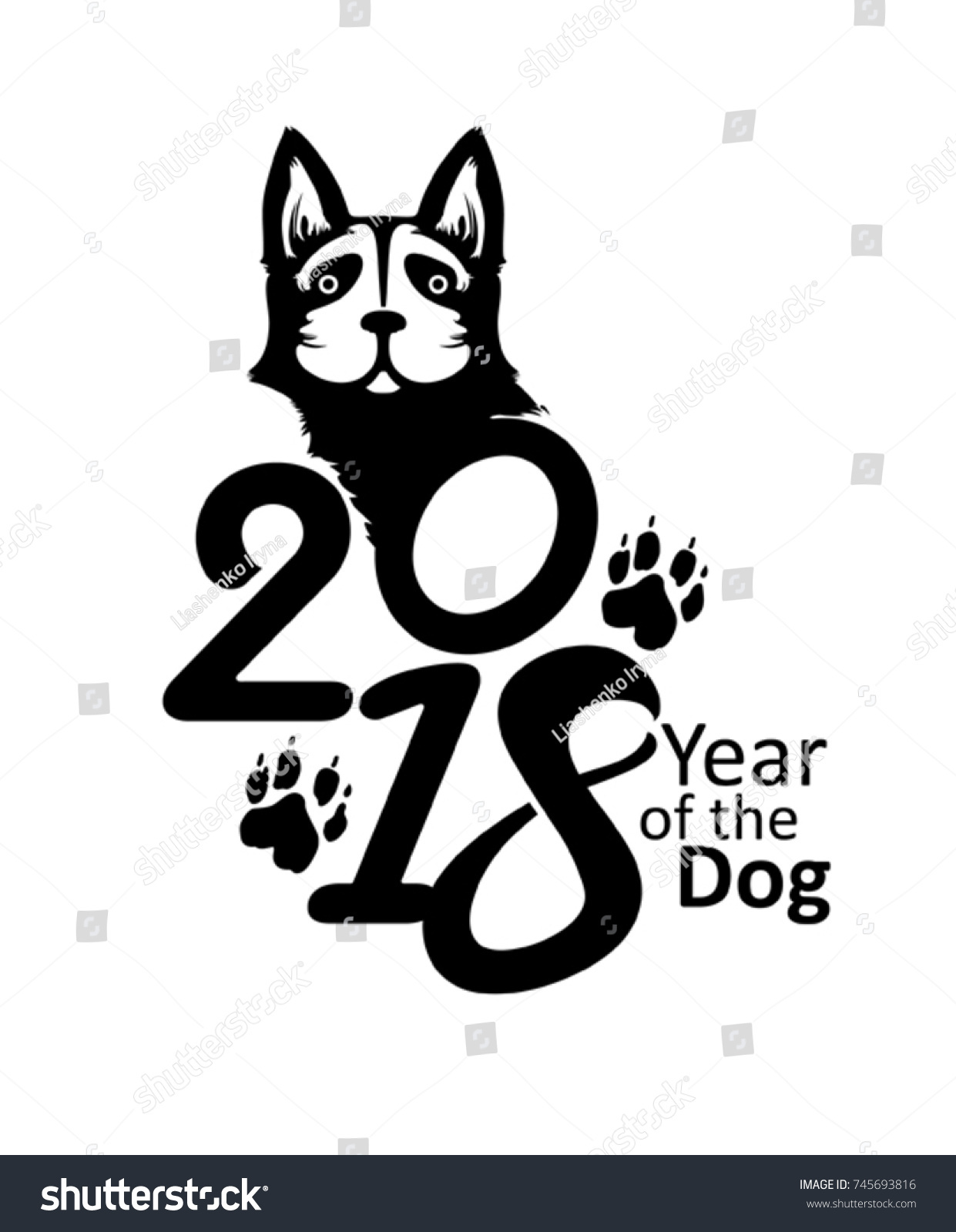 Symbol 2018 Year Dog On Chinese Stock Vector Royalty Free