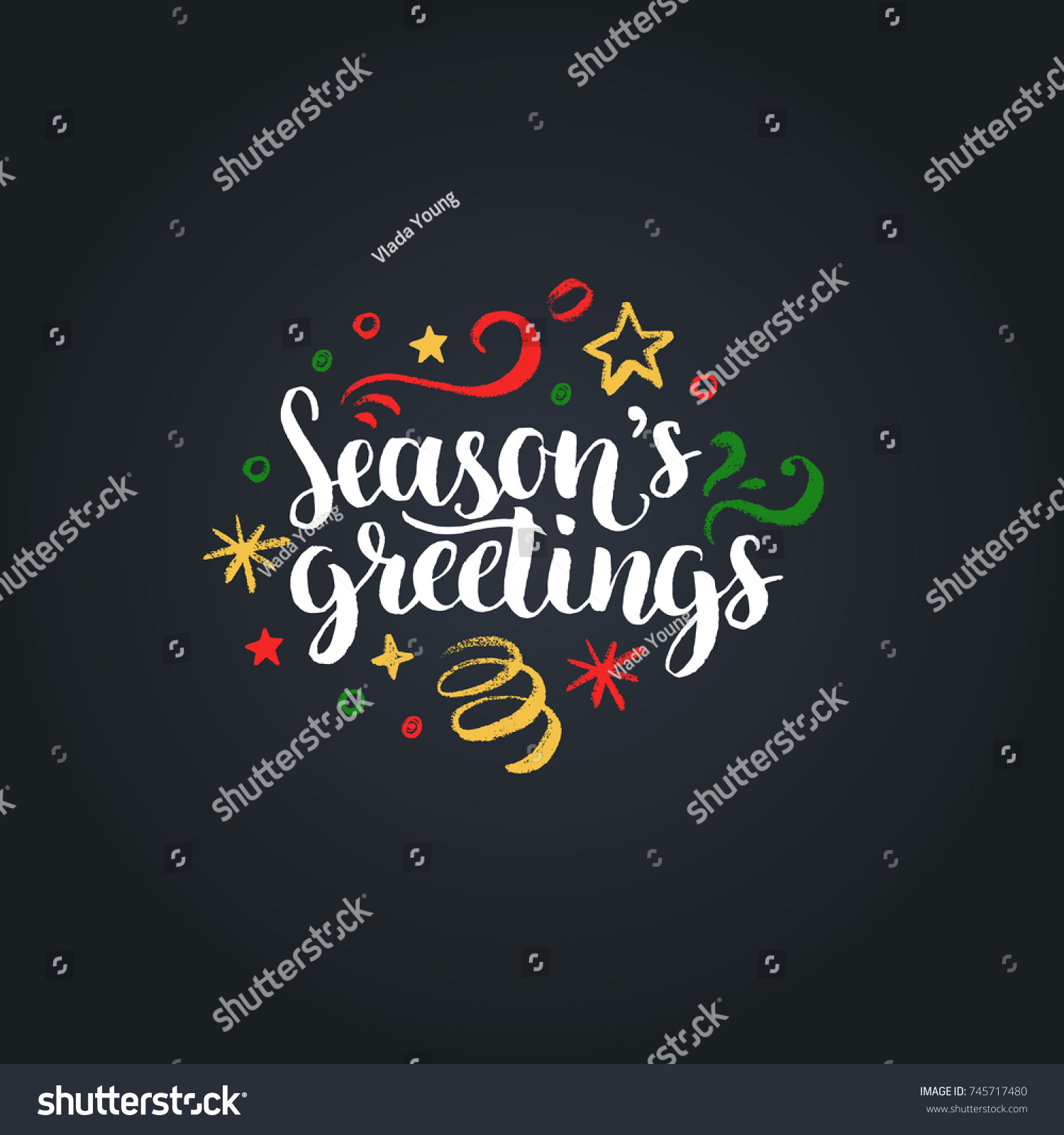 Seasons greetings lettering on black background stock vector seasons greetings lettering on black background vector hand drawn christmas illustration happy holidays greeting kristyandbryce Choice Image