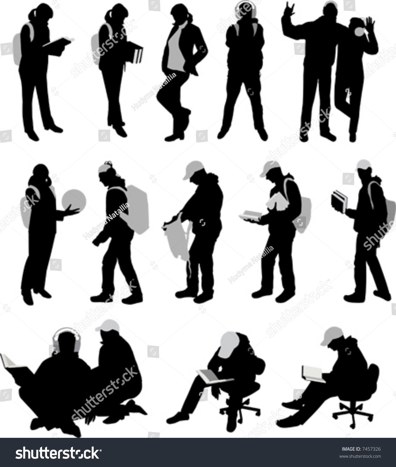 Lots Silhouettes Students Vector Illustration Stock Vector ...