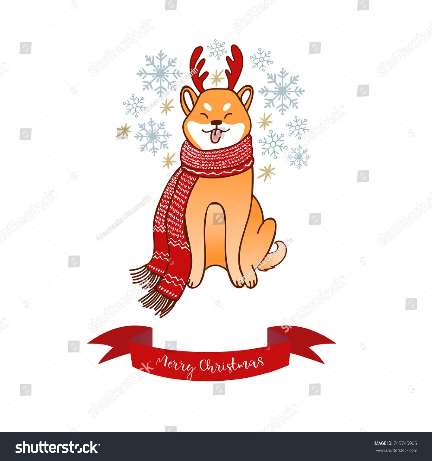 Shiba Inu Horn Deer Winter Holidays Stock-Vektorgrafik (Lizenzfrei ...